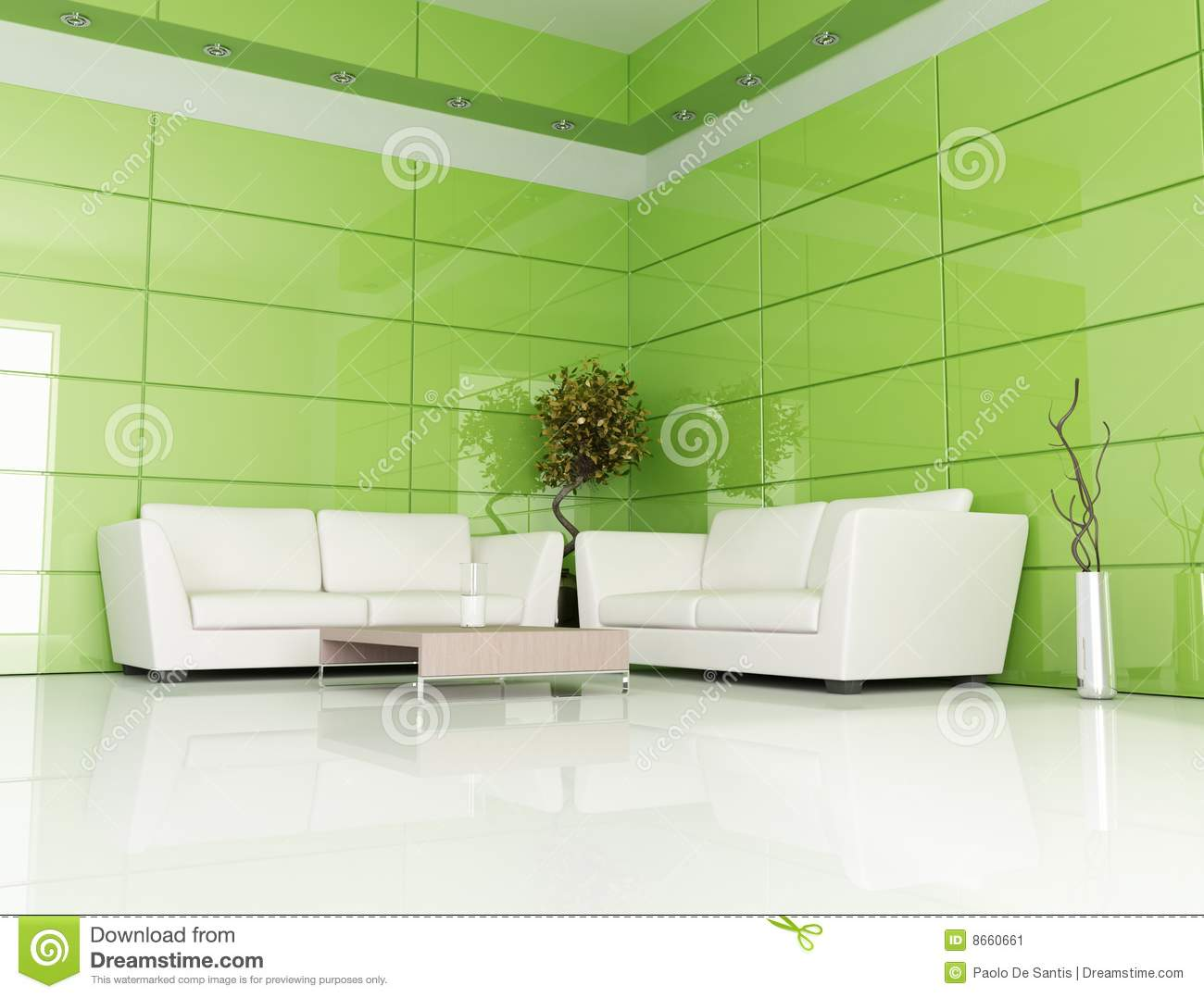 Green And White Living Room Stock Illustration