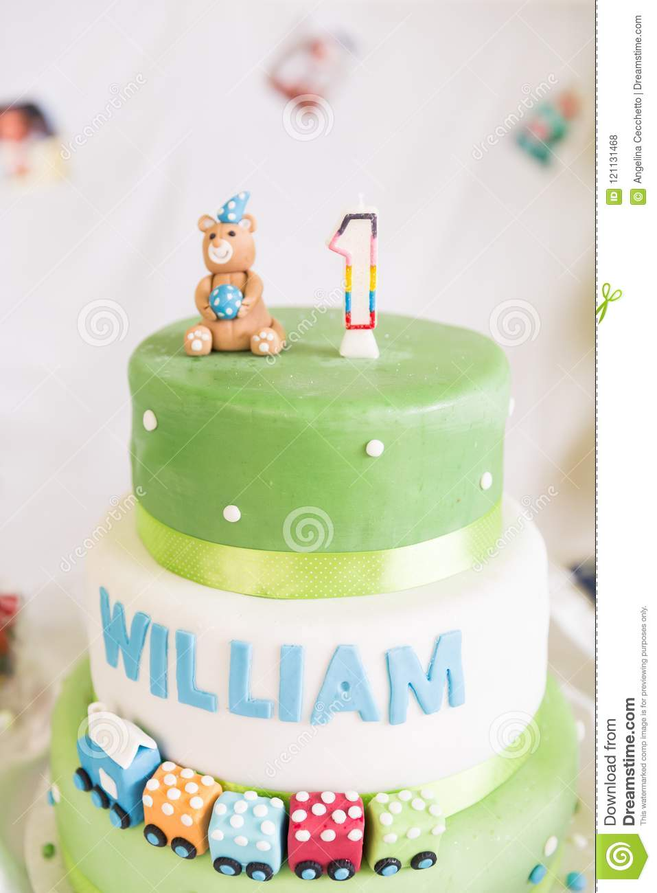 Fantastic Green And White One Year Old Birthday Cake And Candle Stock Photo Funny Birthday Cards Online Inifodamsfinfo
