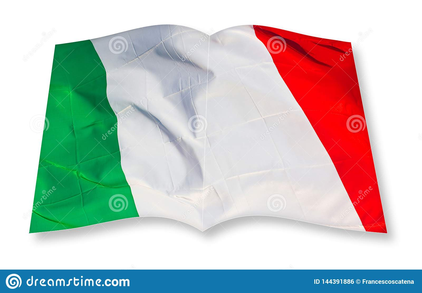 Green, white and red italian flag concept image - 3D rendering concept image of an opened photo book isolated on white - I`m the