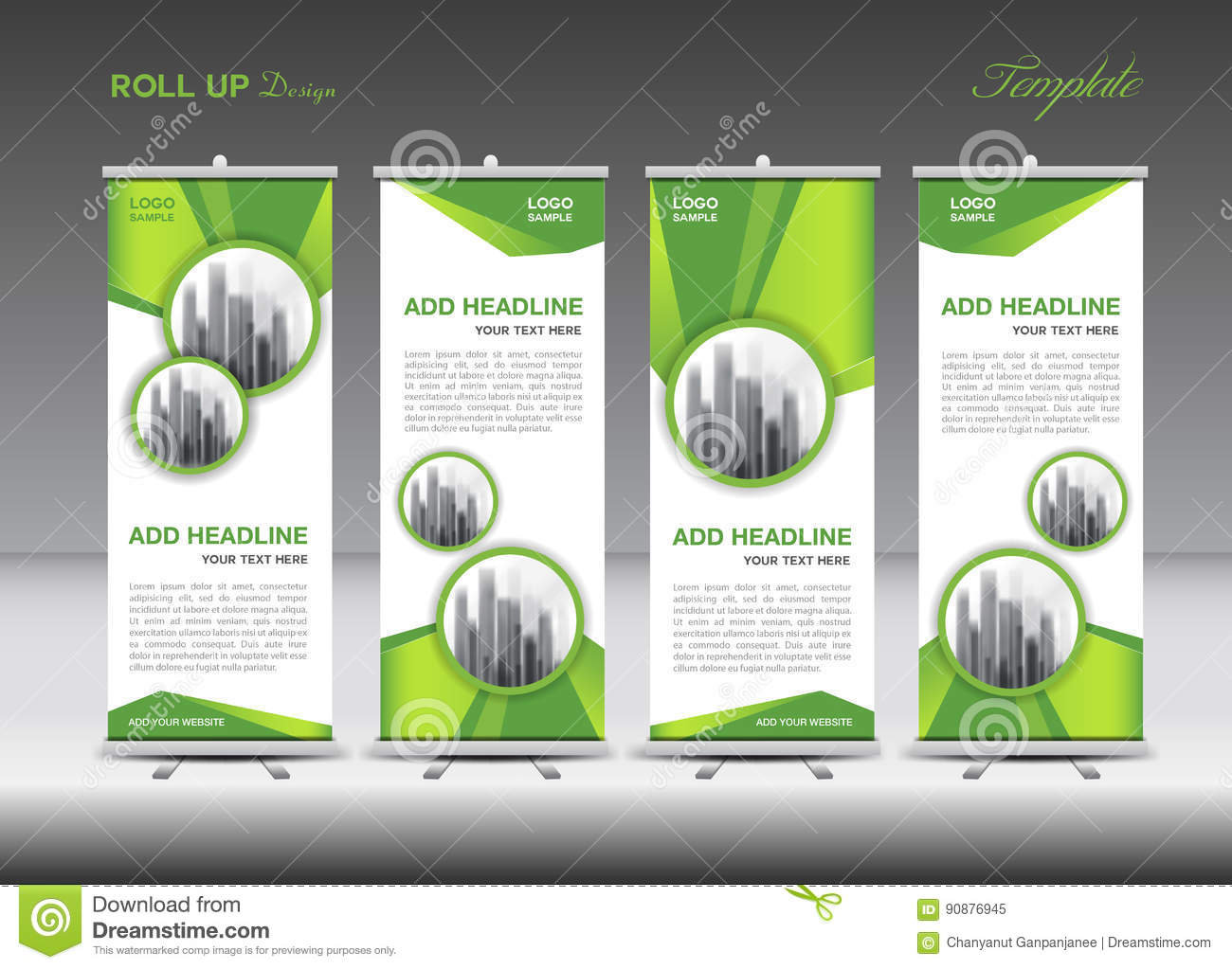 green and white roll up banner template design stock