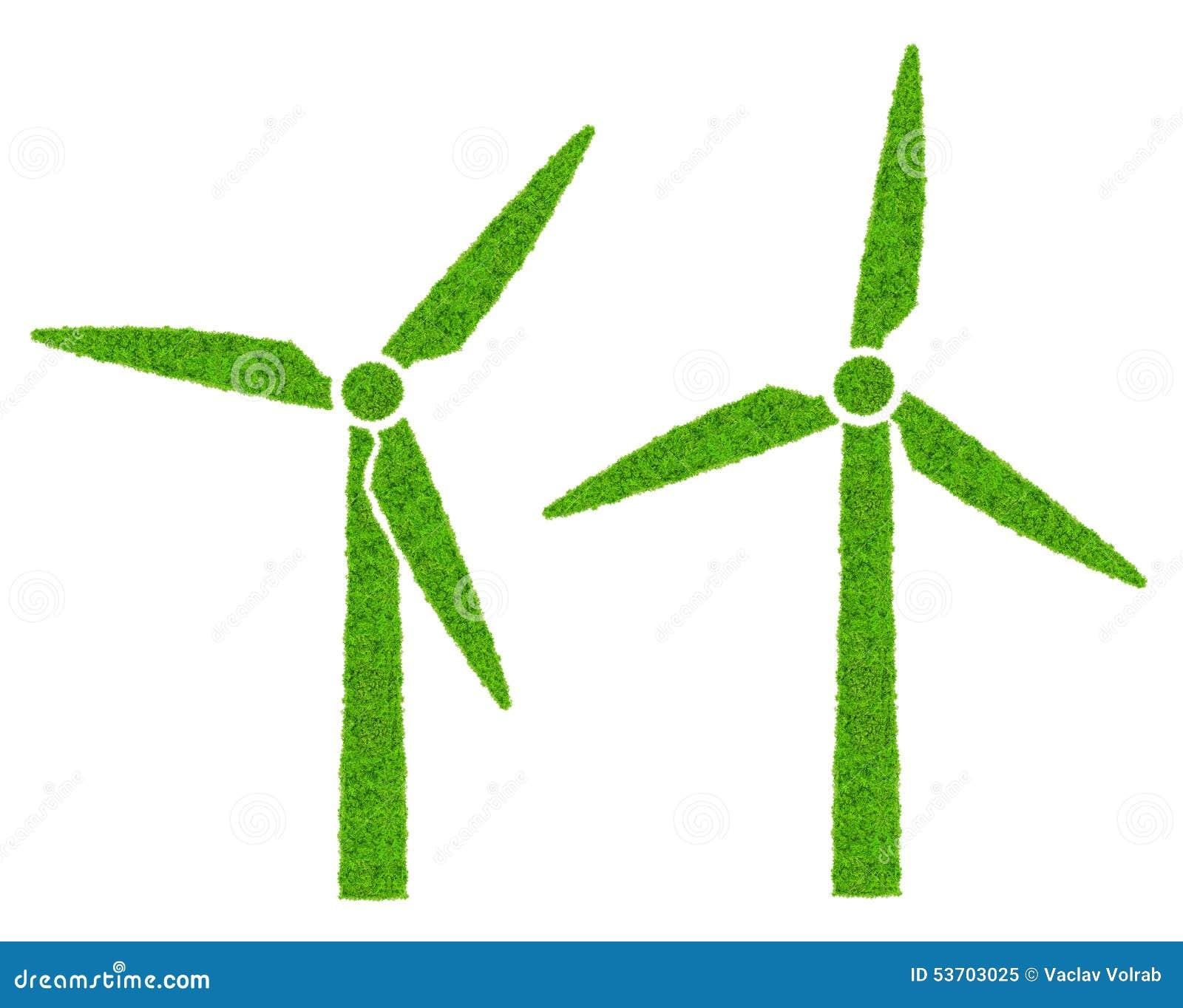 Green Wind Turbines Symbol Stock Image Image Of Turbine 53703025