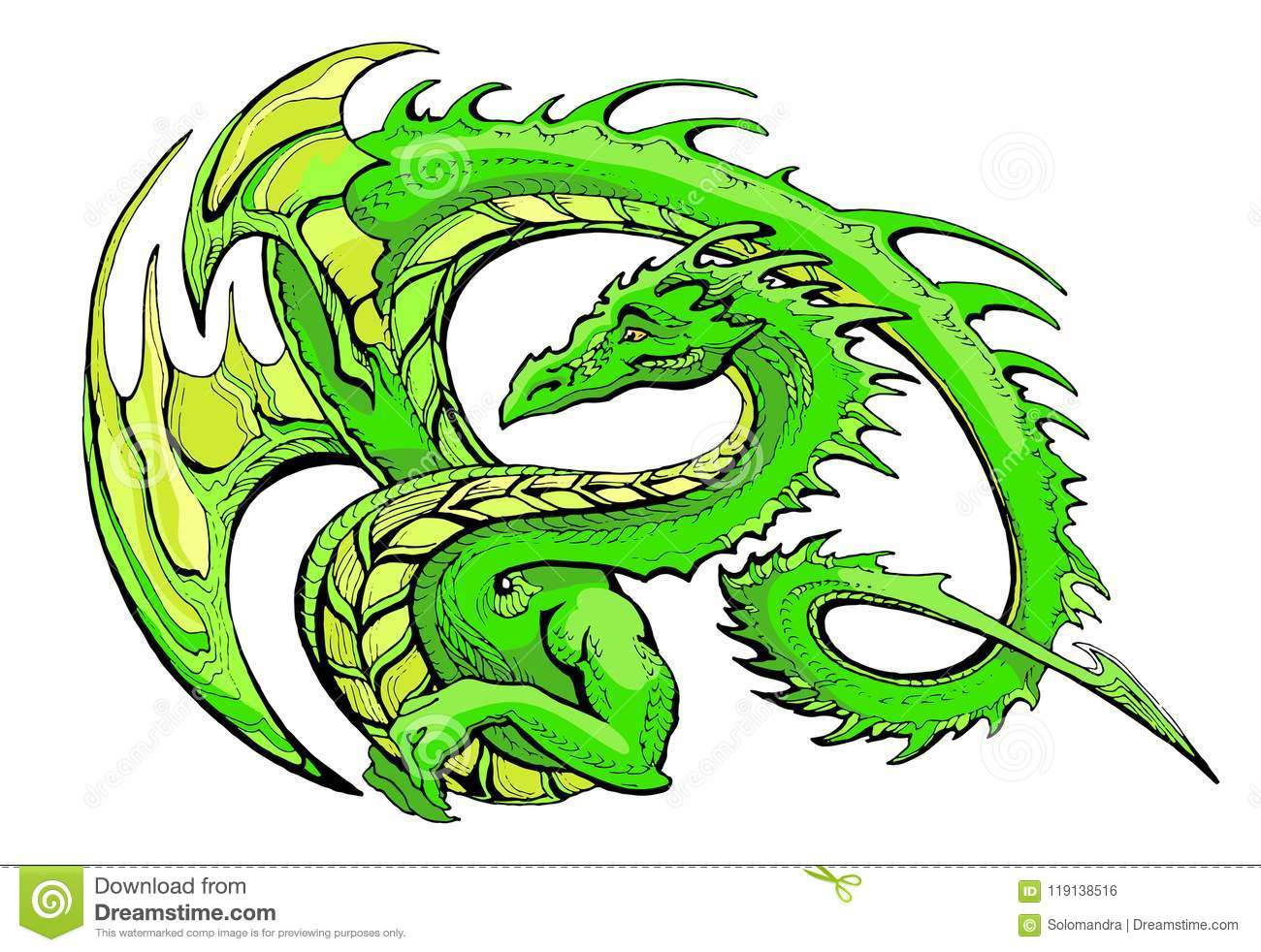 Green Winged Dragon Stock Vector Illustration Of Moustaches