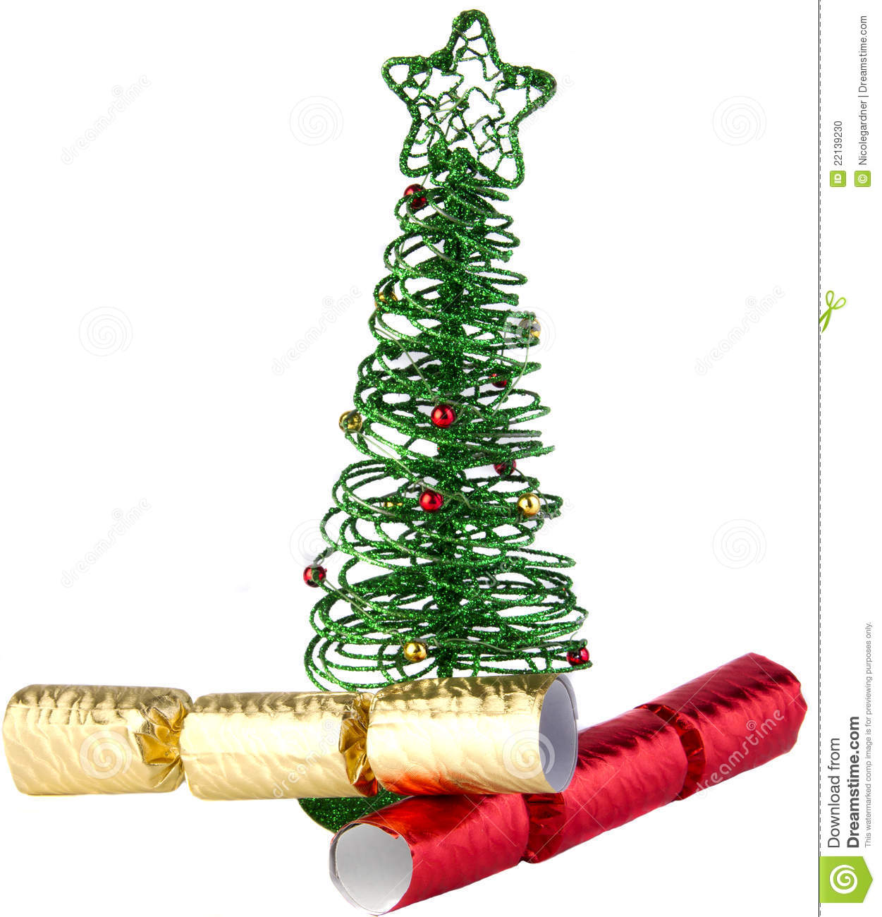green wire christmas tree with crackers stock photo. Black Bedroom Furniture Sets. Home Design Ideas