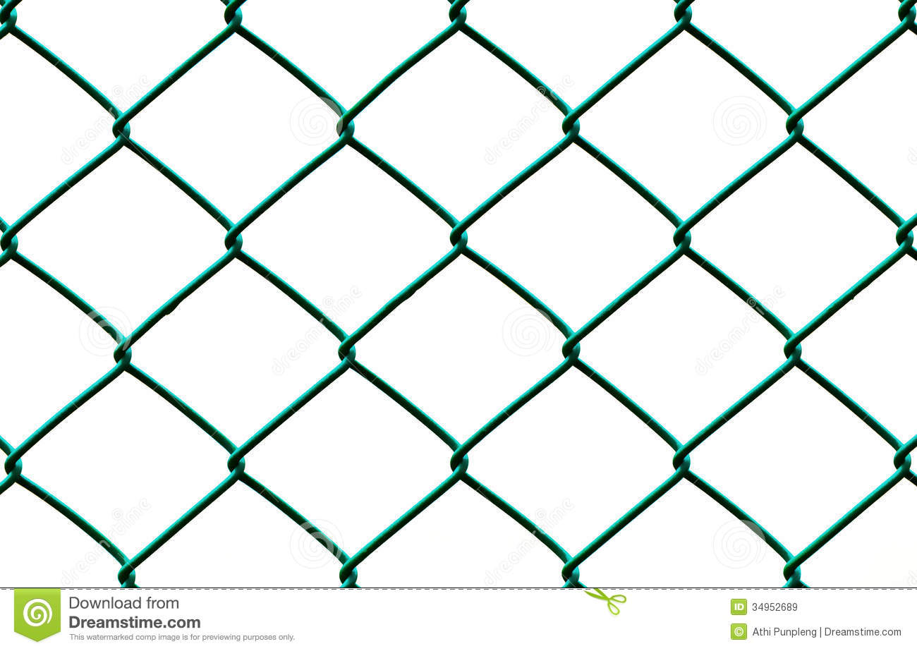 Green Wire Fence Isolated On White Background Royalty Free