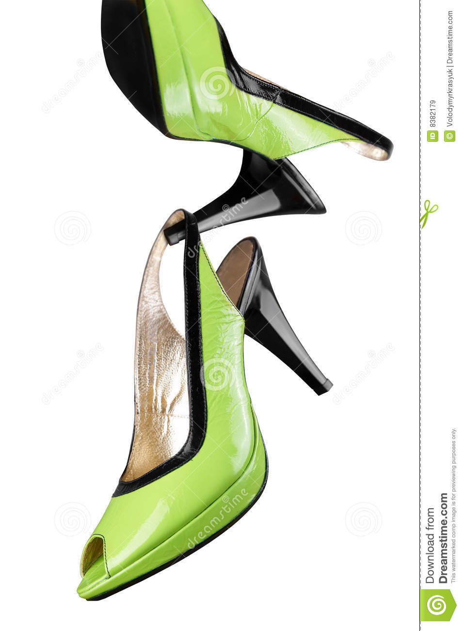 Royalty Free Stock Images: Green women shoes isolated on white