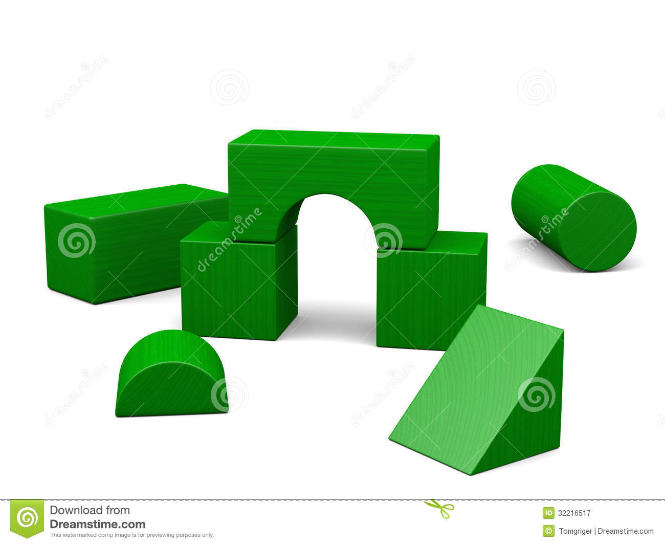 Green Wooden Blocks Royalty Free Stock Photography - Image: 32216517