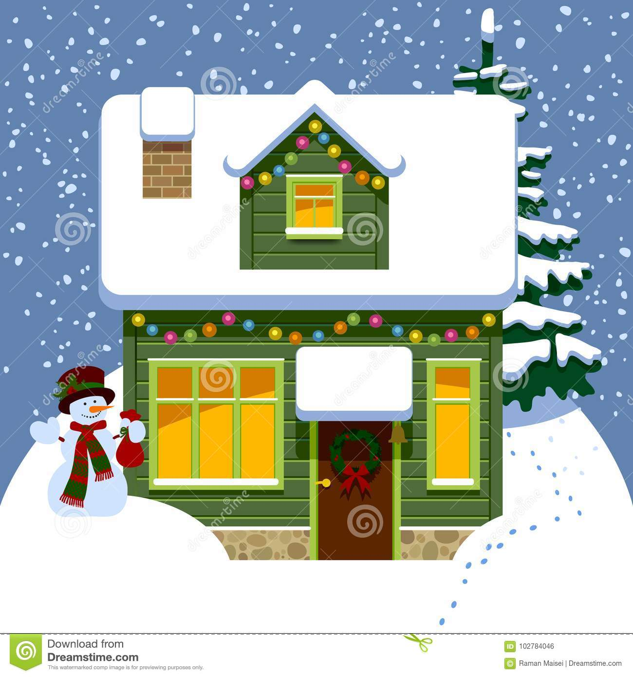 Christmas House Drawing.Green Wooden Christmas House In Winter Covered By Snow Stock