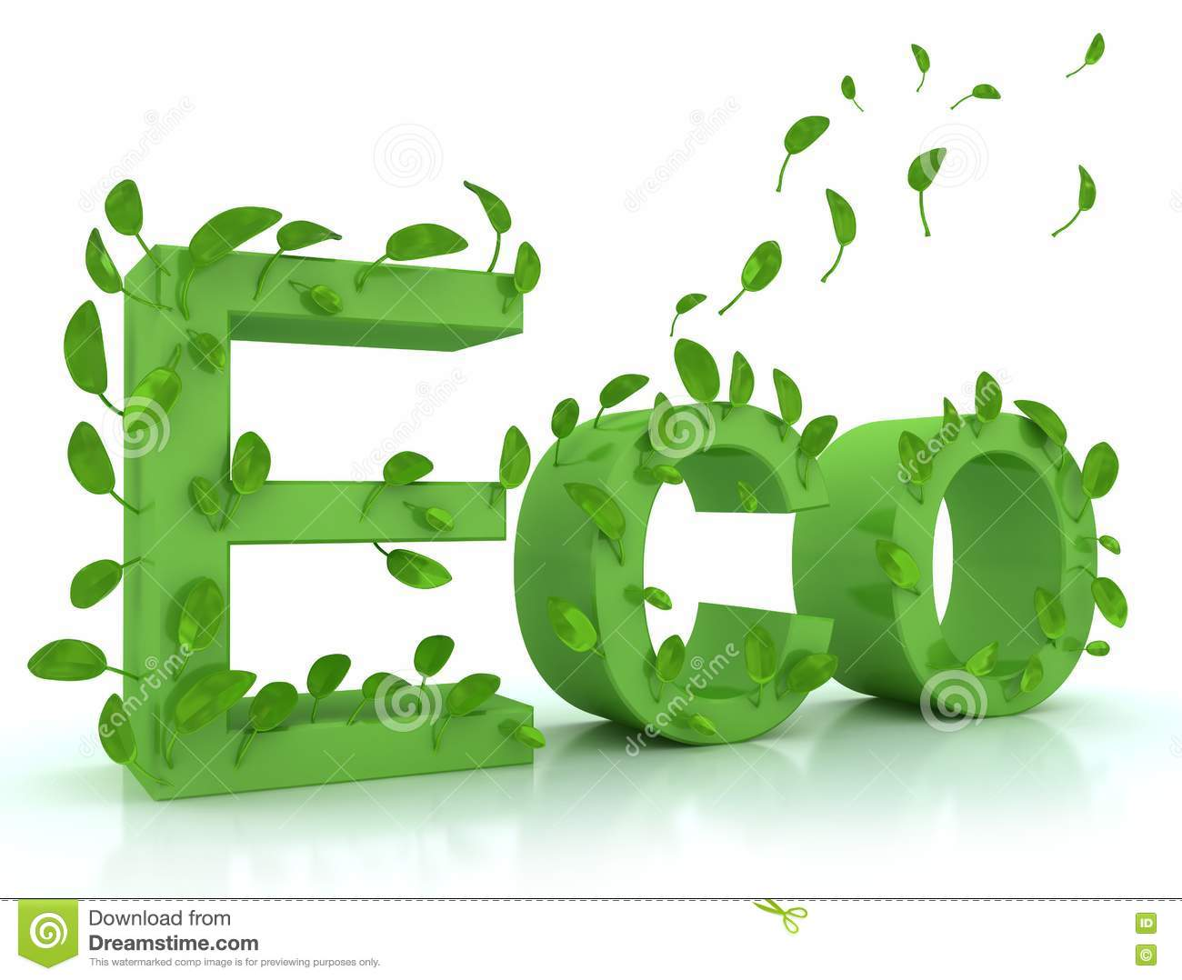 Green Word Eco With Leaves Stock Photography Image 13981112