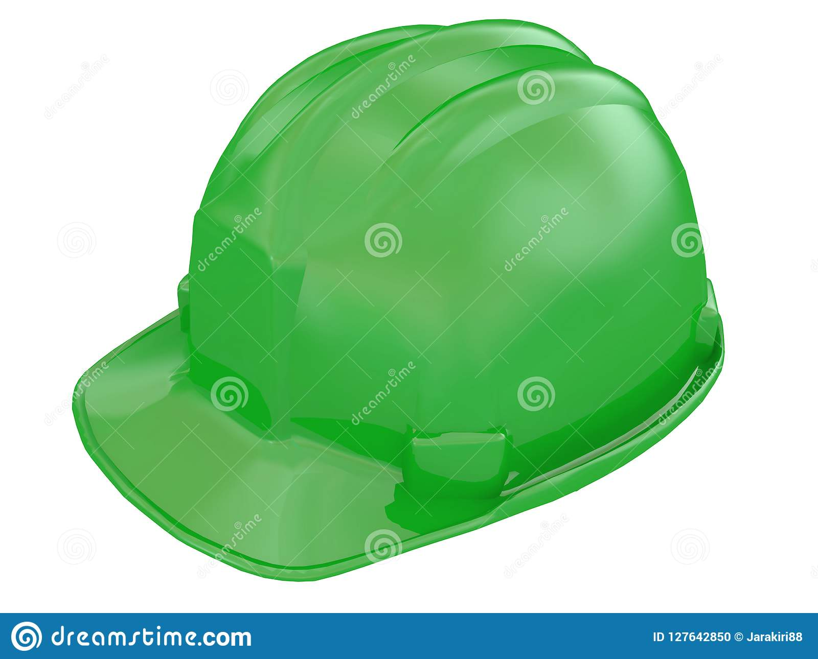 Green worker helmet of a construction site on a white background 3d rendering