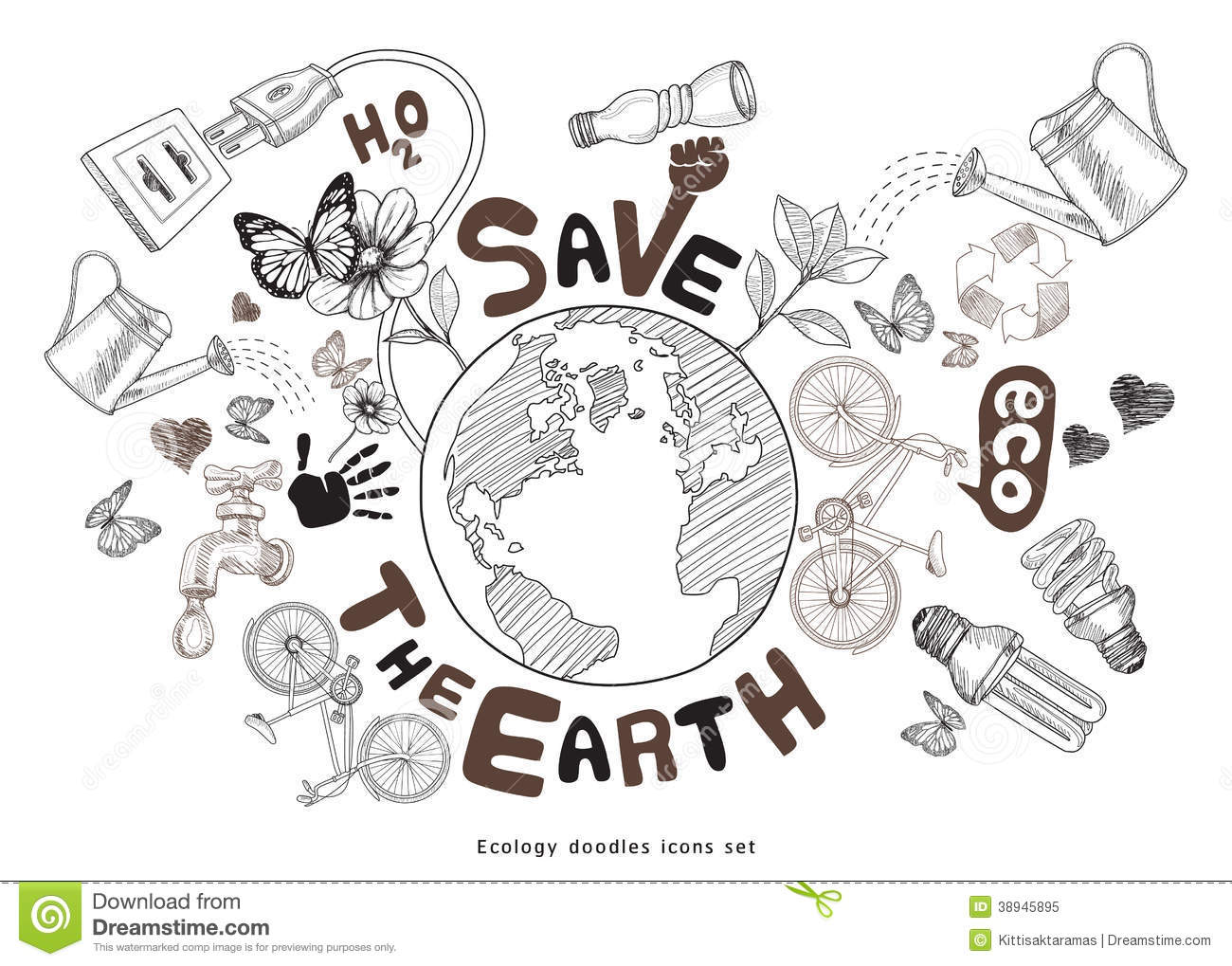 Green World Drawing Concept Save The Earth Illustration 38945895