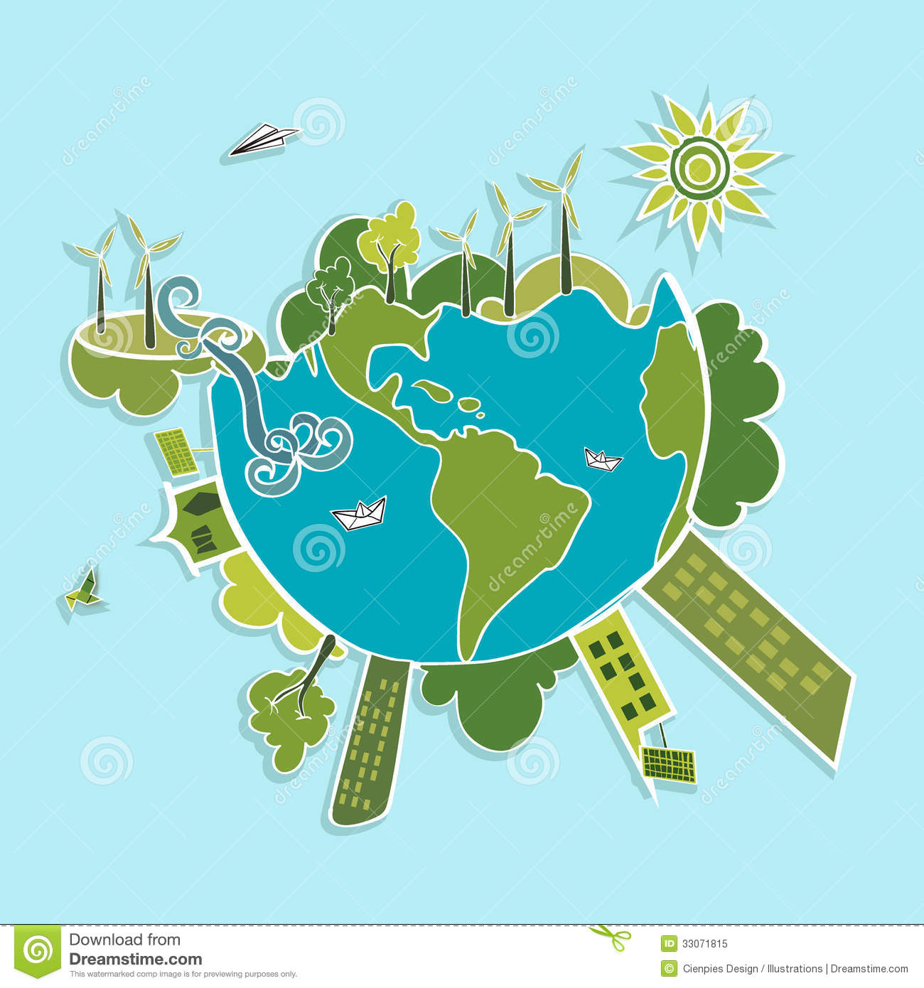 green world ecologic elements eco global planet earth trees continents wind turbines sun illustration vector layered easy 33071815