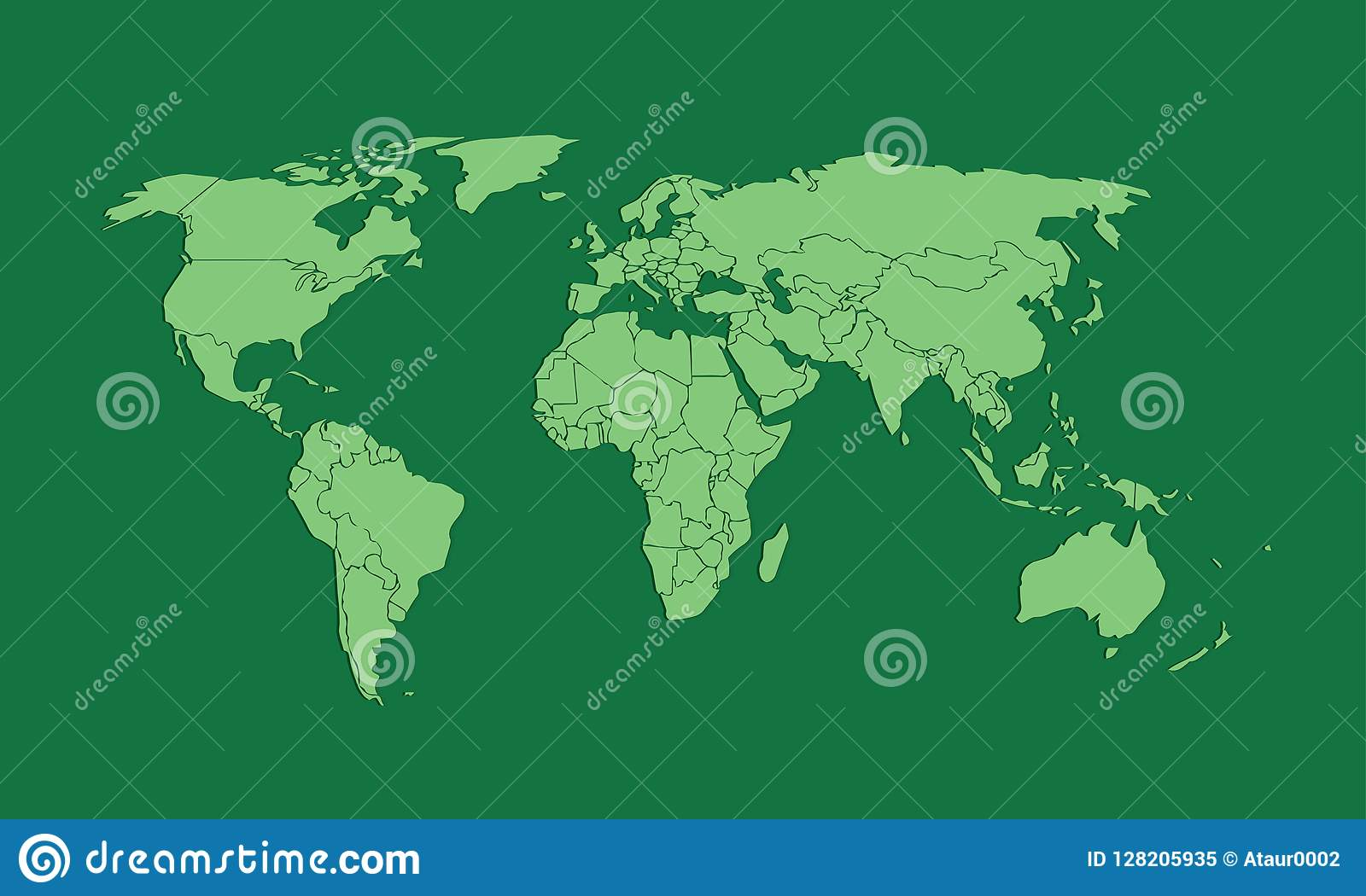 A Green World Map Or Atlas Of Different Countries With ...