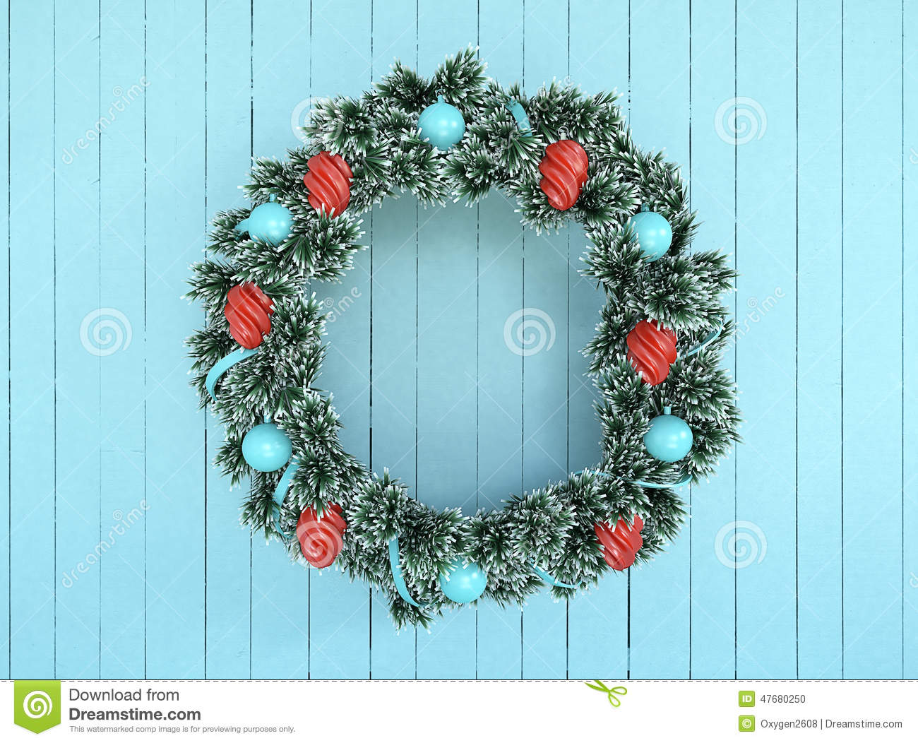 christmas wreath decoration with aqua and red bow on antique teal aqua rustic wood - Teal And Red Christmas Decorations