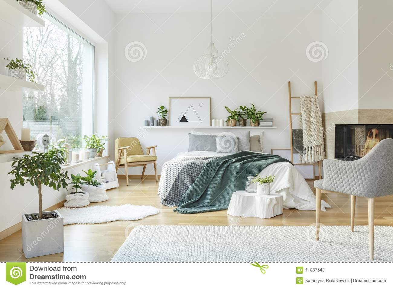 Green And Yellow Bedroom Interior Stock Image - Image of ...