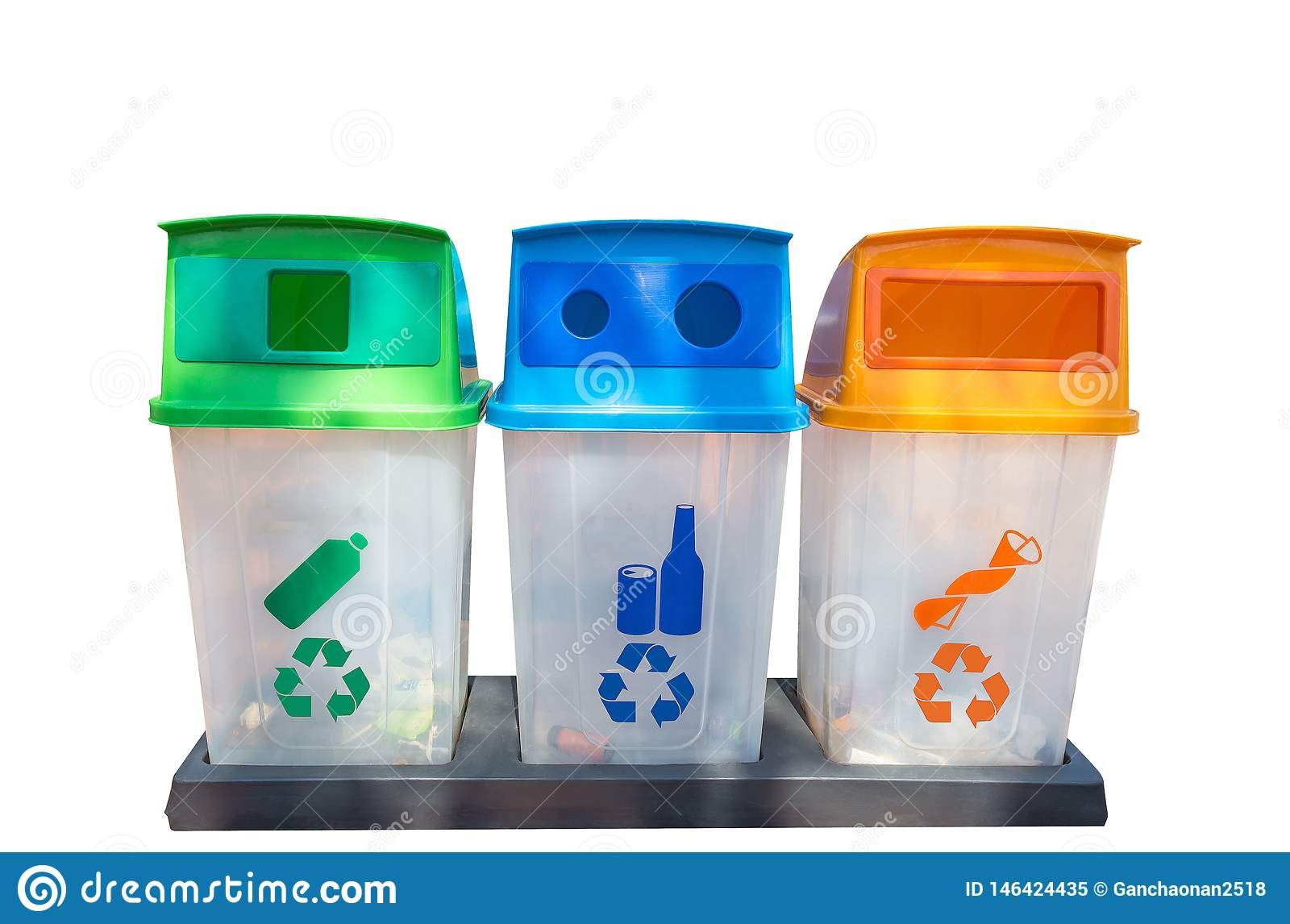 Green, yellow, blue and recycle bins with recycle symbol isolated on White Background