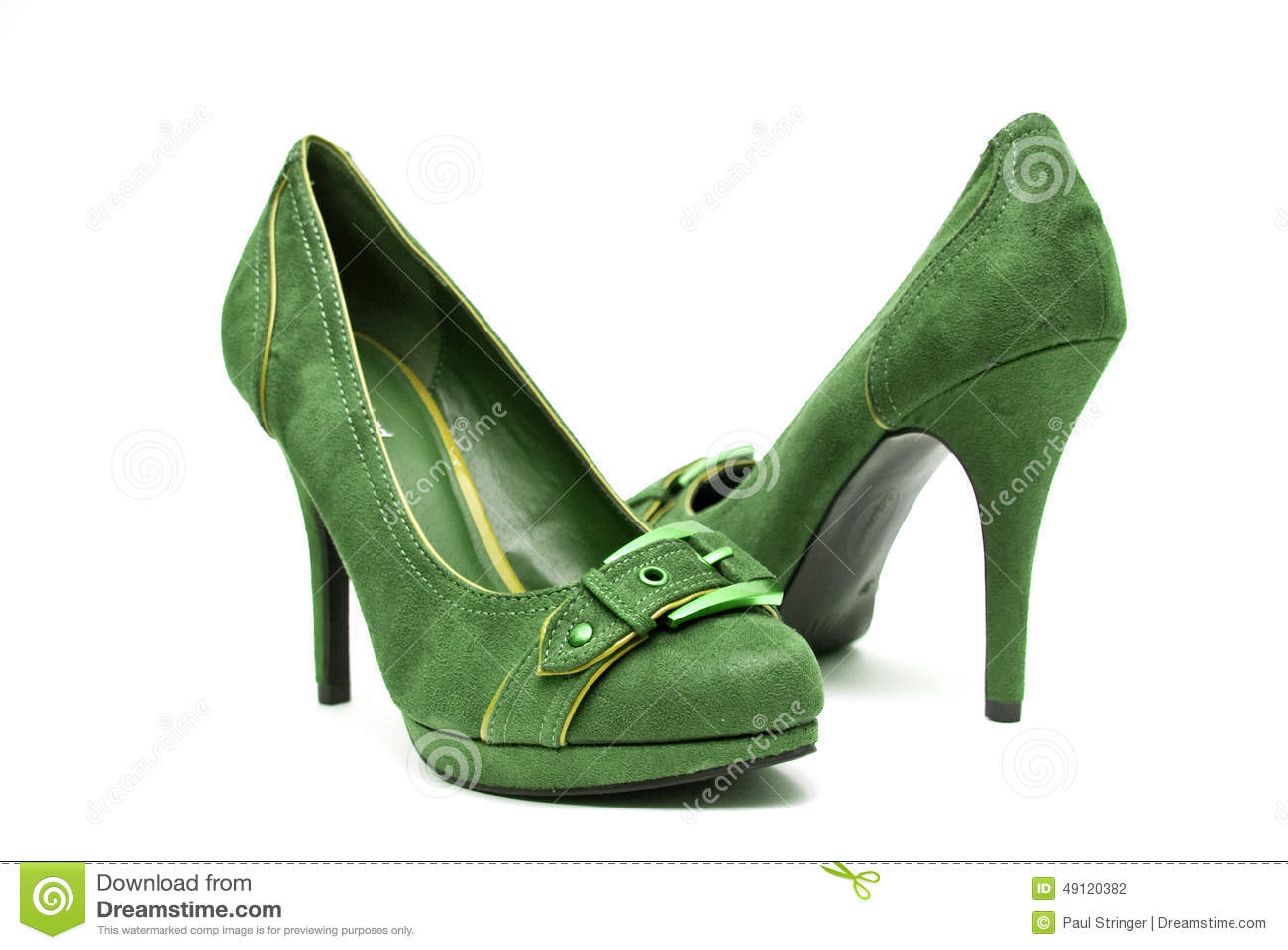 Green And Yellow High Heels