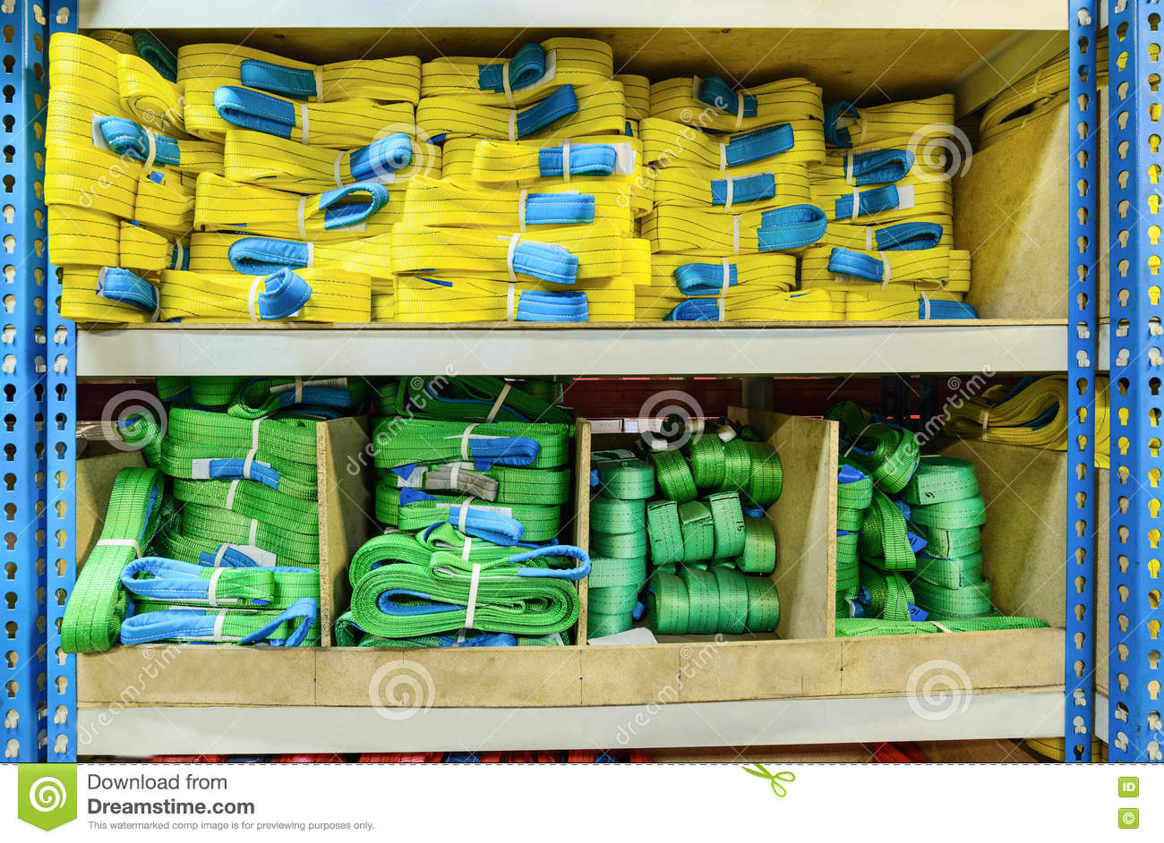 Green, Yellow Nylon Soft Lifting Slings Stacked In Piles  Stock