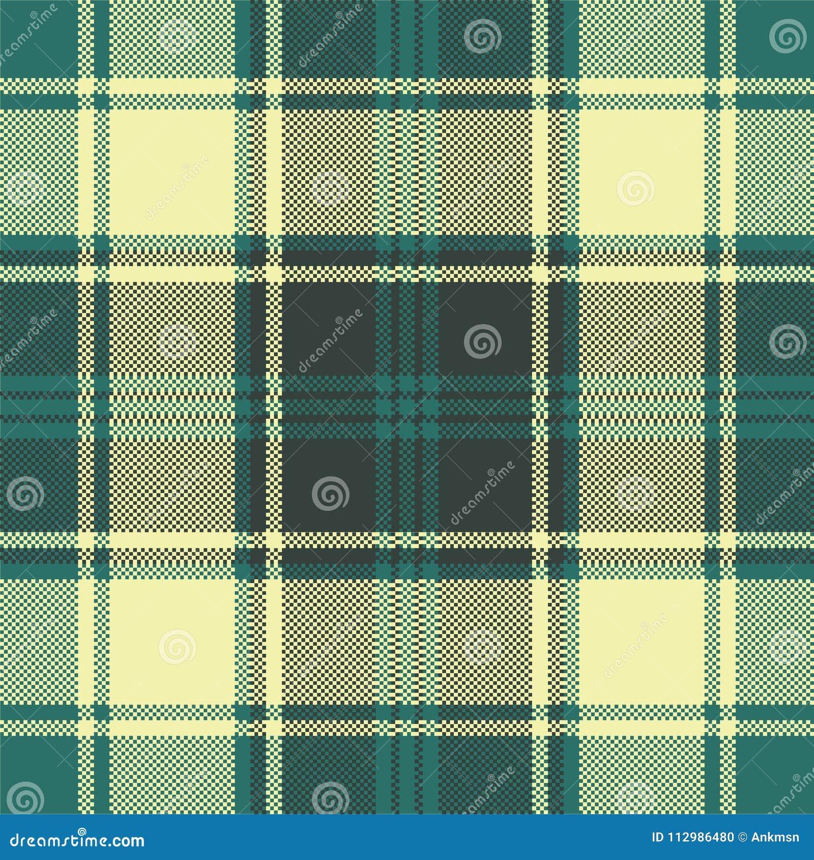 Green yellow plaid check pixel seamless pattern