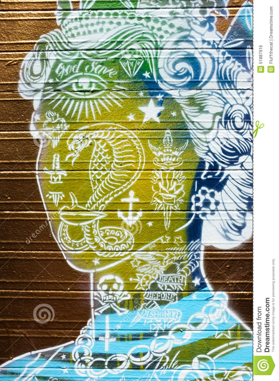 Green And Yellow Queens Head Graffiti Editorial Photo - Image of ...