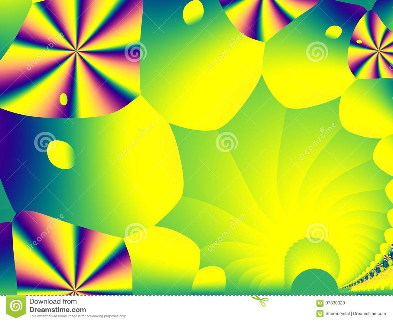 Green, yellow and rainbow playful fractal background art with colorful shapes. Creative graphic template for fun children events,