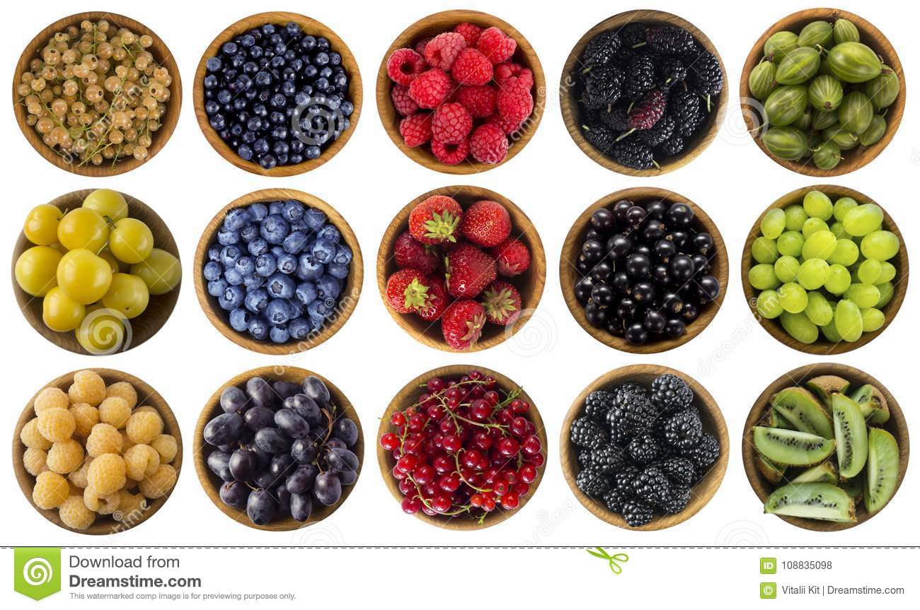 Green, yellow, red, blue and black food. Berries isolated on white. Collage of different colors fruits and berries on a white back