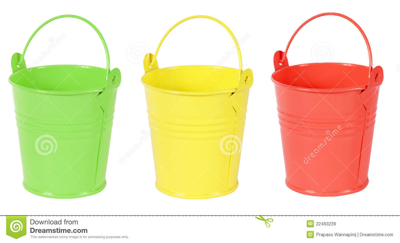Green Yellow And Red Gardening Metal Bucket Royalty Free Stock Images