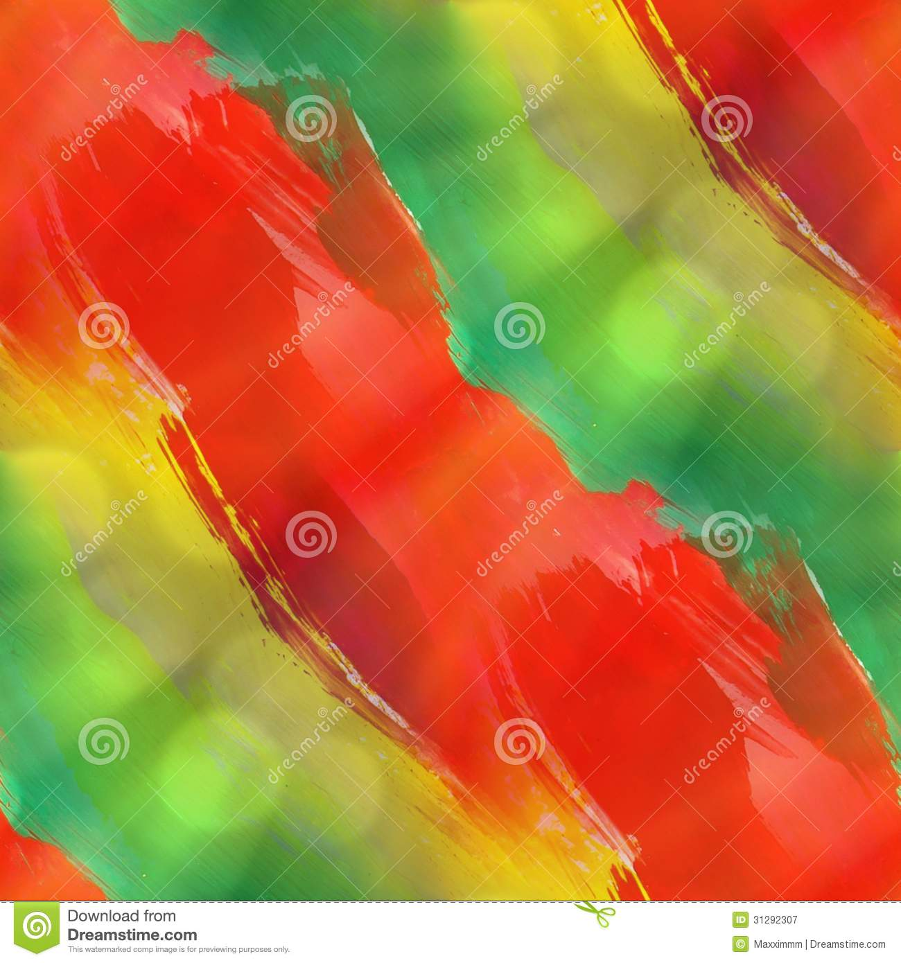 Green Yellow Red Texture Watercolor Seamless Stock Illustration
