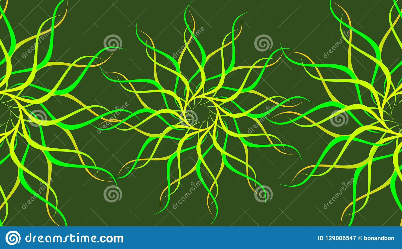 Green & yellow rotating patterned colorful spiral, Abstract waves background.