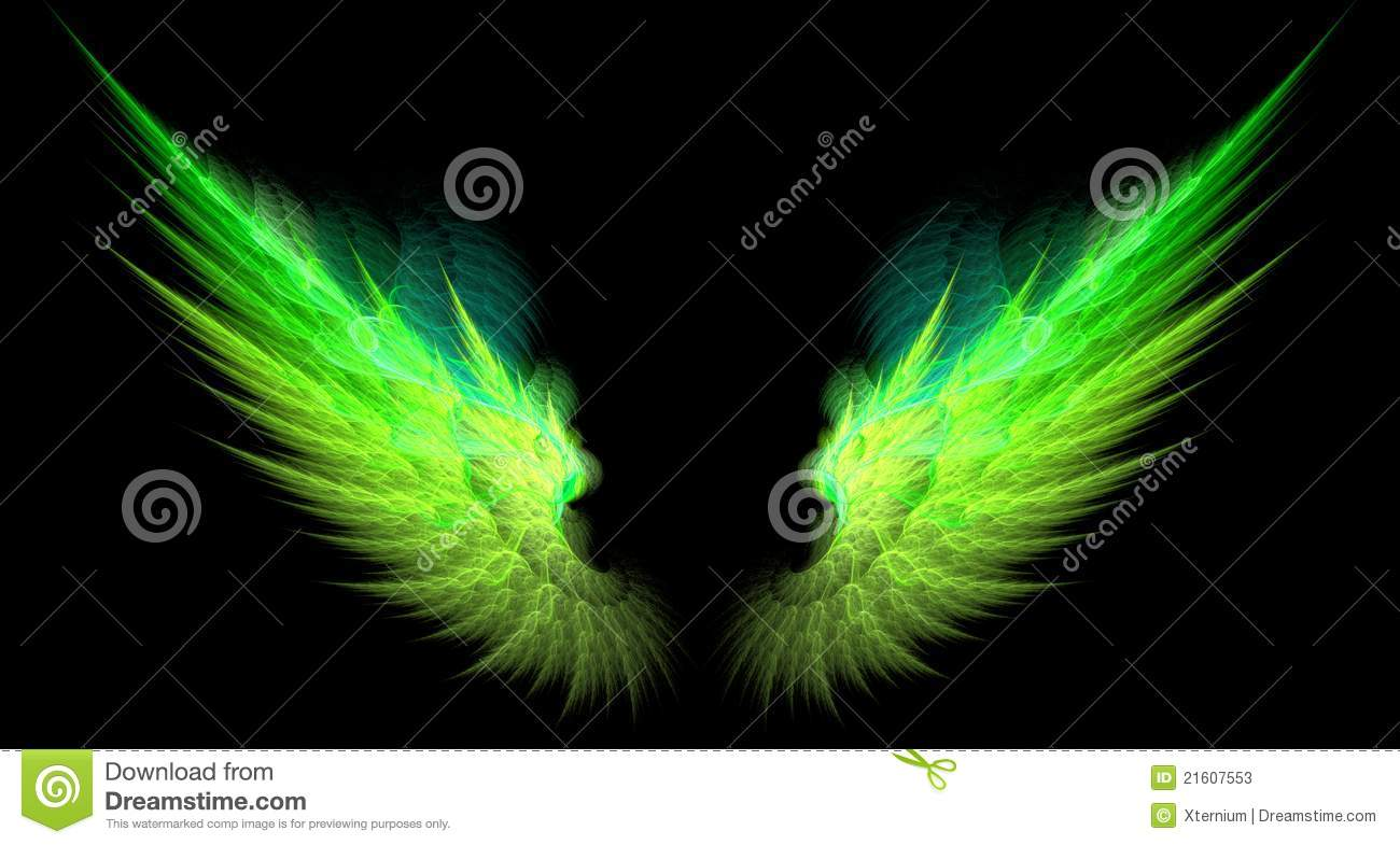 Green And Yellow Sharp Wings Stock Illustration ...