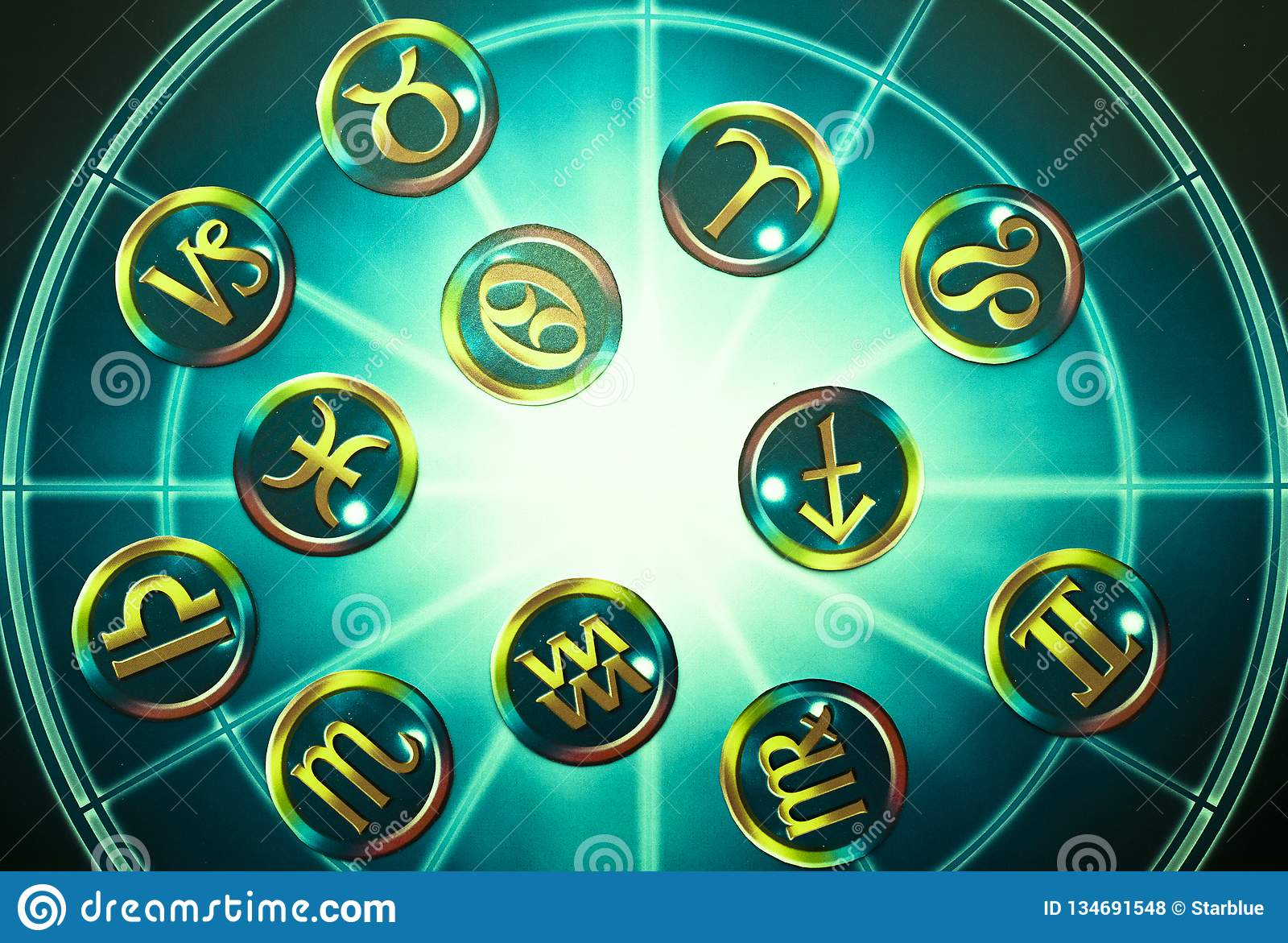 Green yellow zodiac signs over blue horoscope like astrology concept