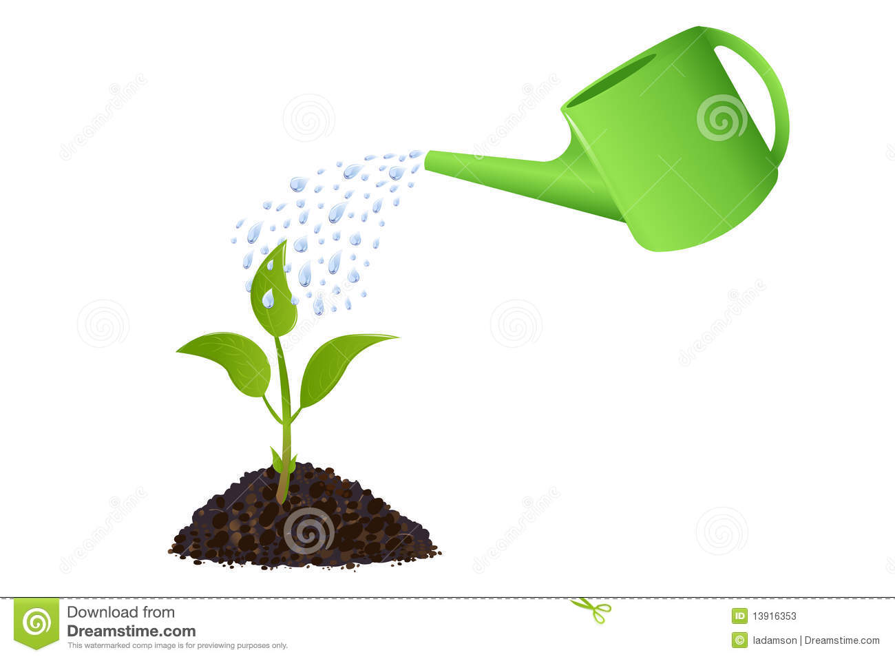 Green Young Plant With Watering Can Vector Stock Vector