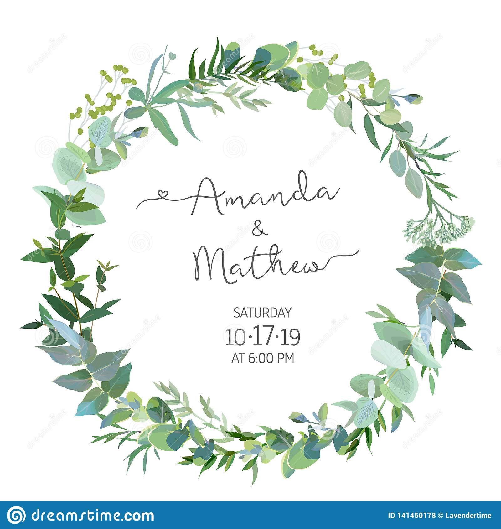 Greenery selection vector design round invitation frame