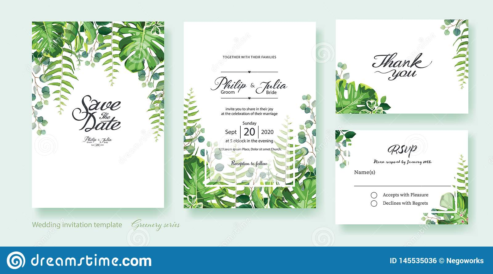 Greenery Wedding Invitation Save The Date Thank You Rsvp