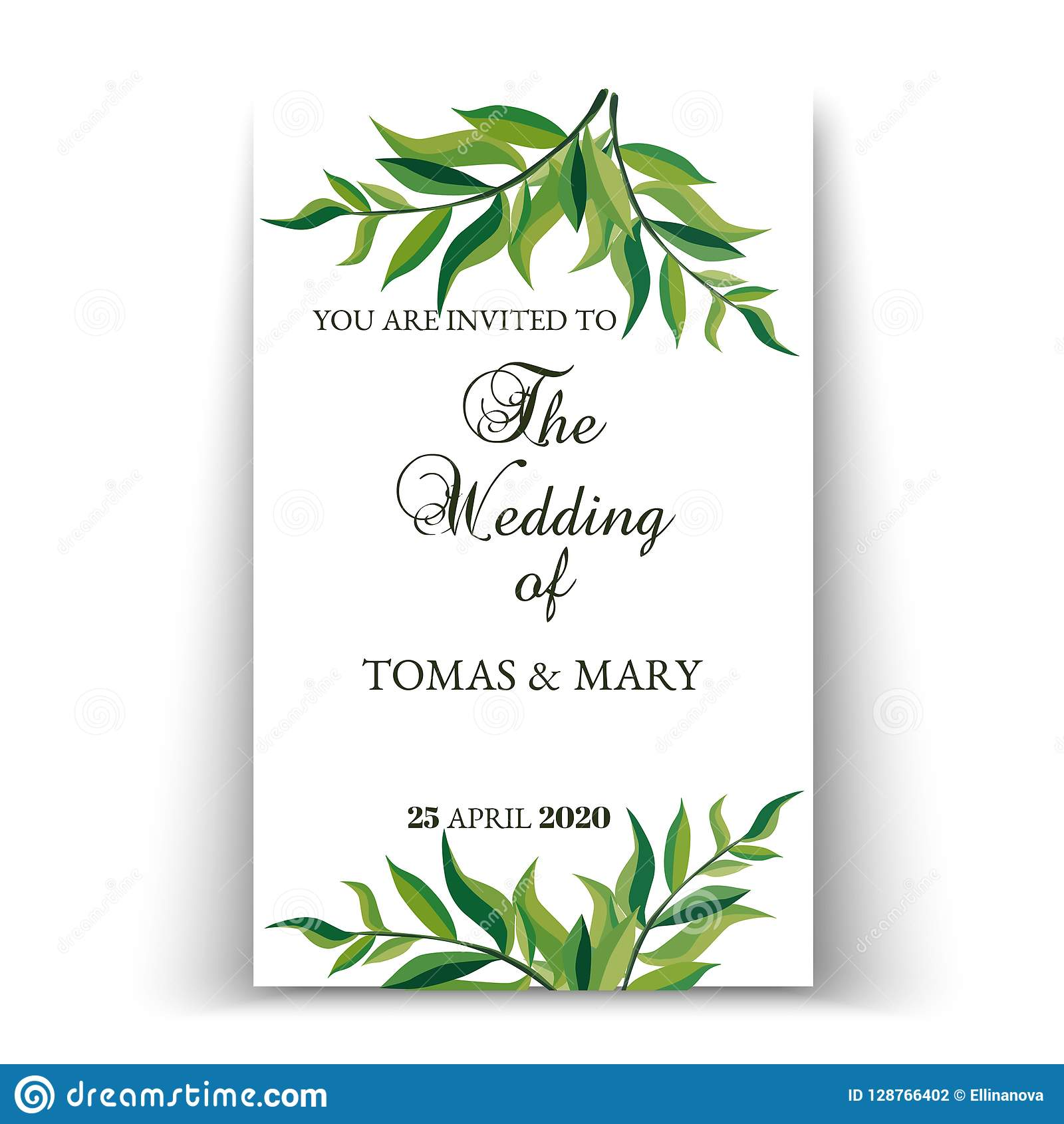 greenery wedding invitation template stock vector illustration of