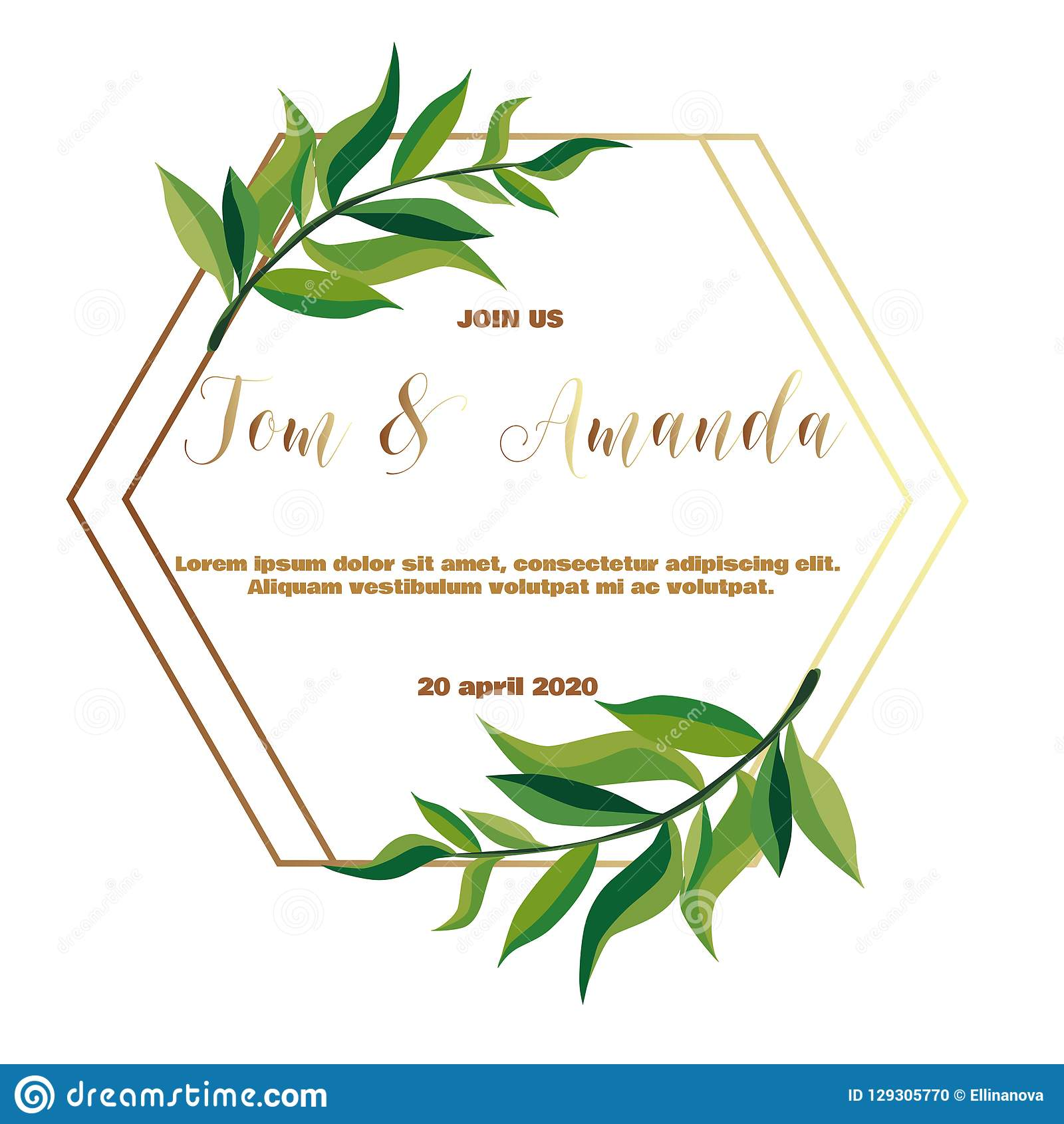 Greenery Wedding Invitation Template Stock Vector