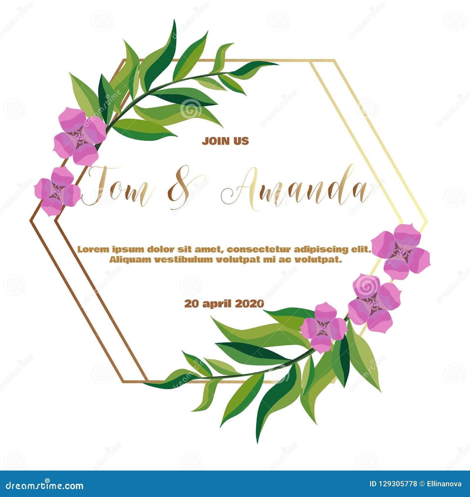 Wedding Invitation Templates.Greenery Wedding Invitation Template Stock Vector Illustration Of