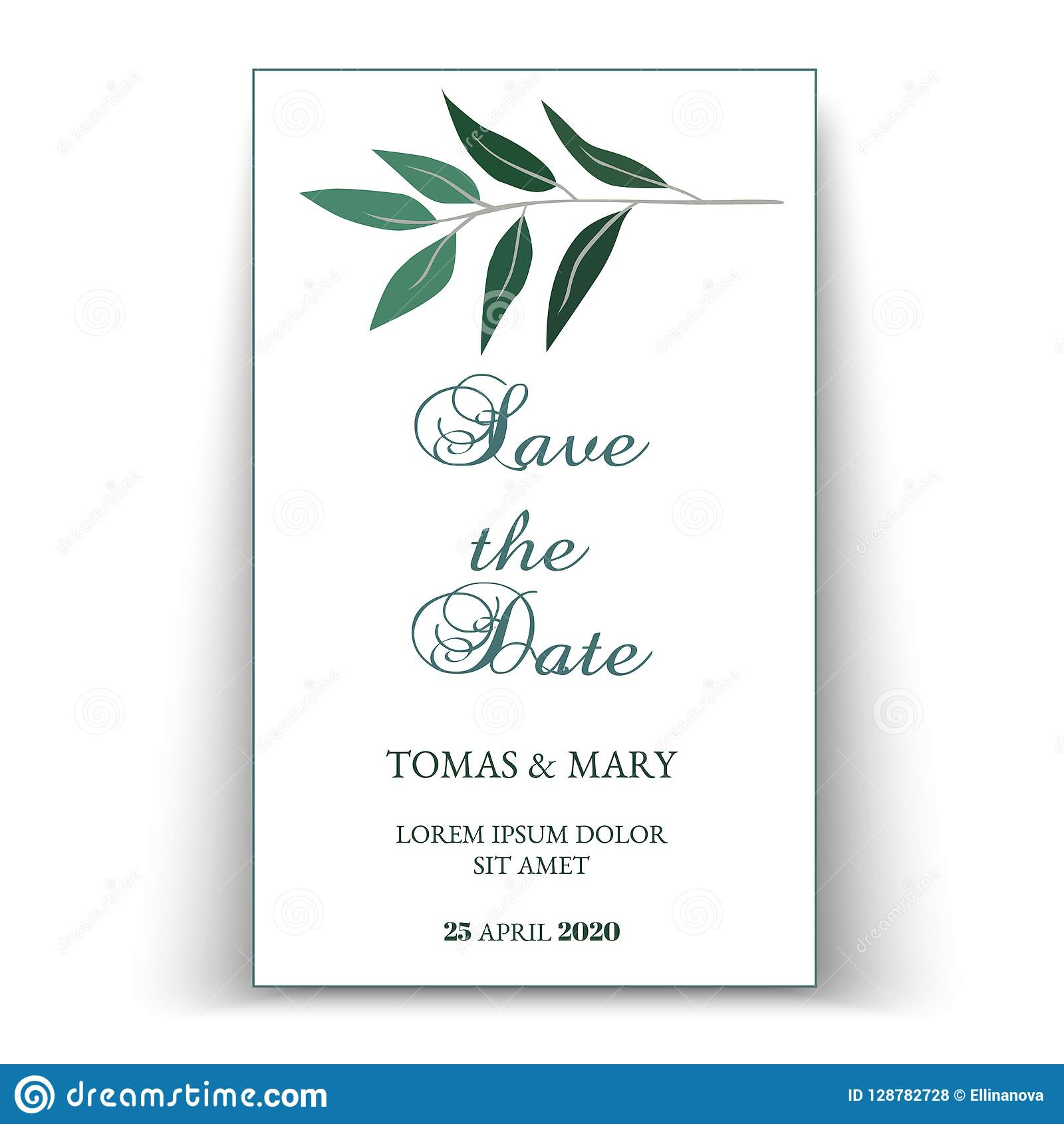 Greenery Wedding Invitation Template Stock Vector