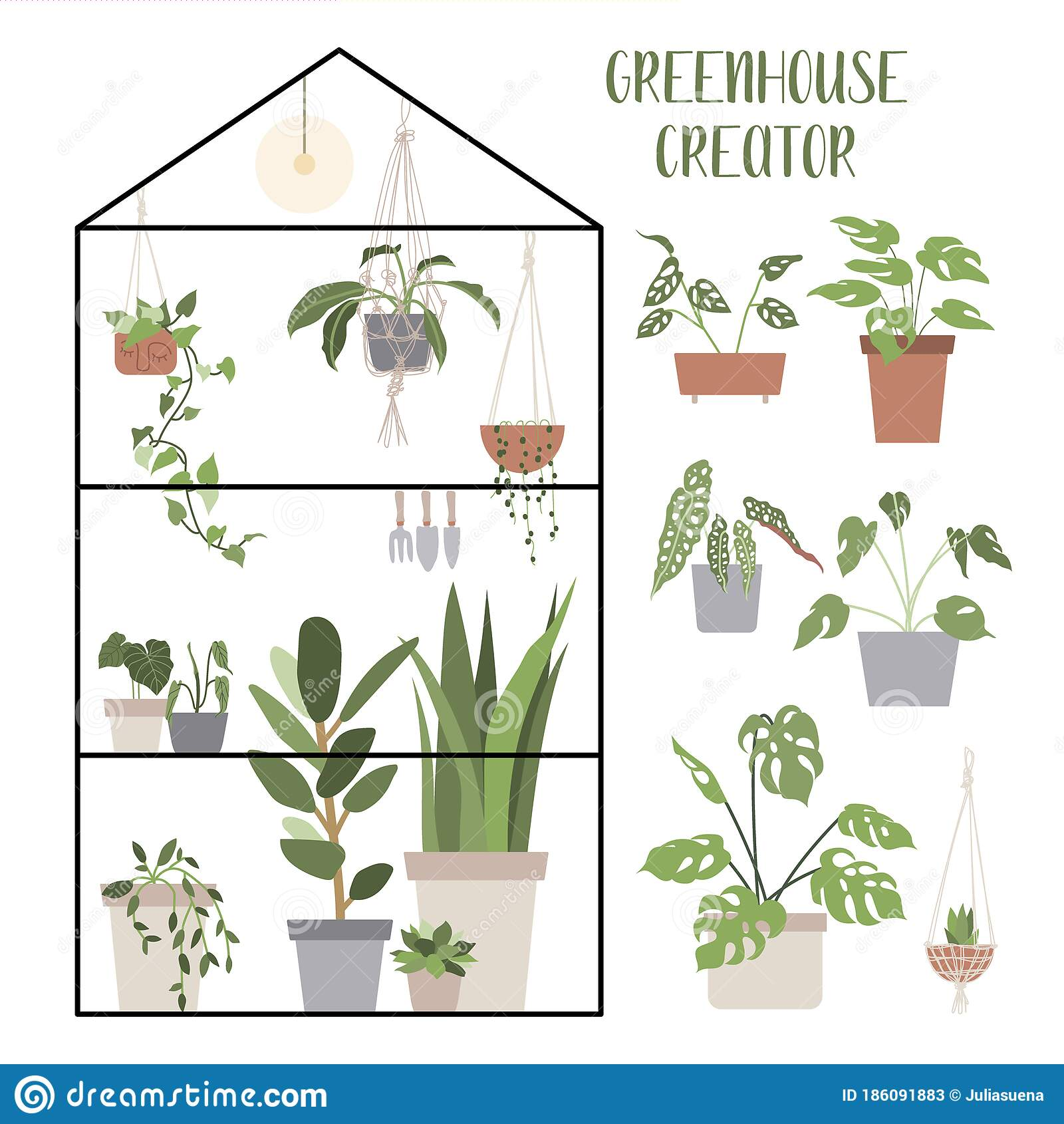Greenhouse Creator Set With House Plants And Pots Concept Of Botanical Garden Home Gardening Stock Vector Illustration Of Friendly Garden 186091883