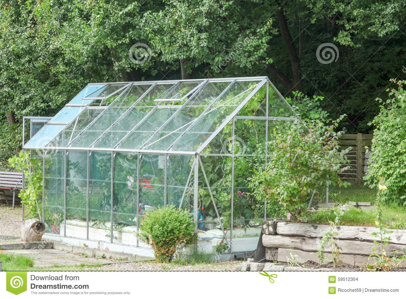 Greenhouse In A Garden Stock Photo Image 59512304