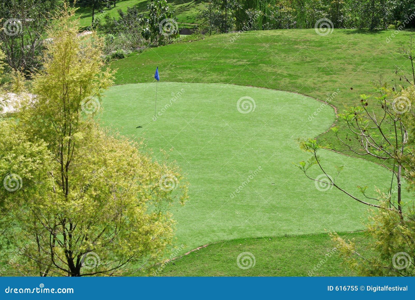 Greens en de vlaggen van de Cursus van het golf