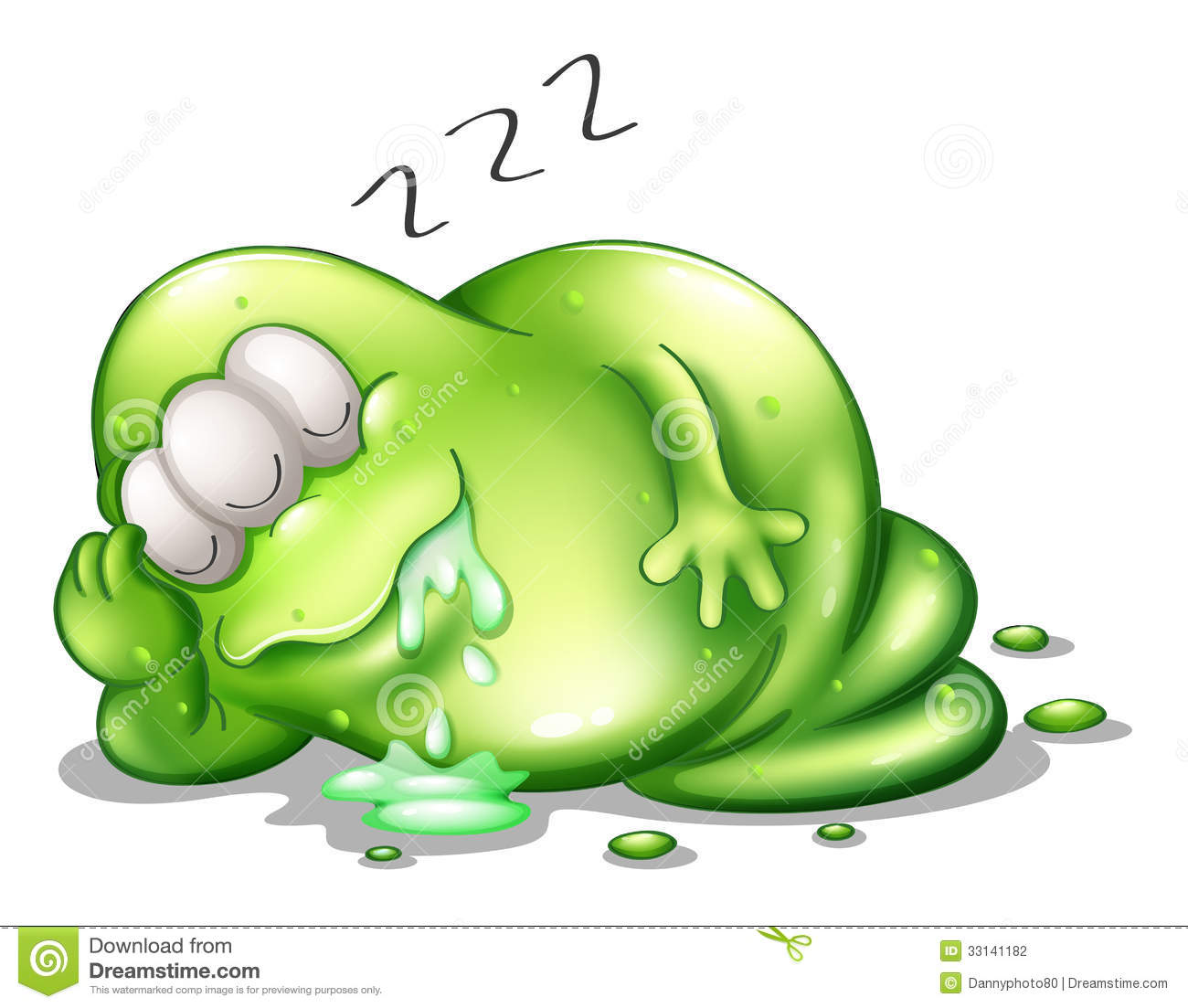 Illustration of a greenslime monster sleeping on a white background.