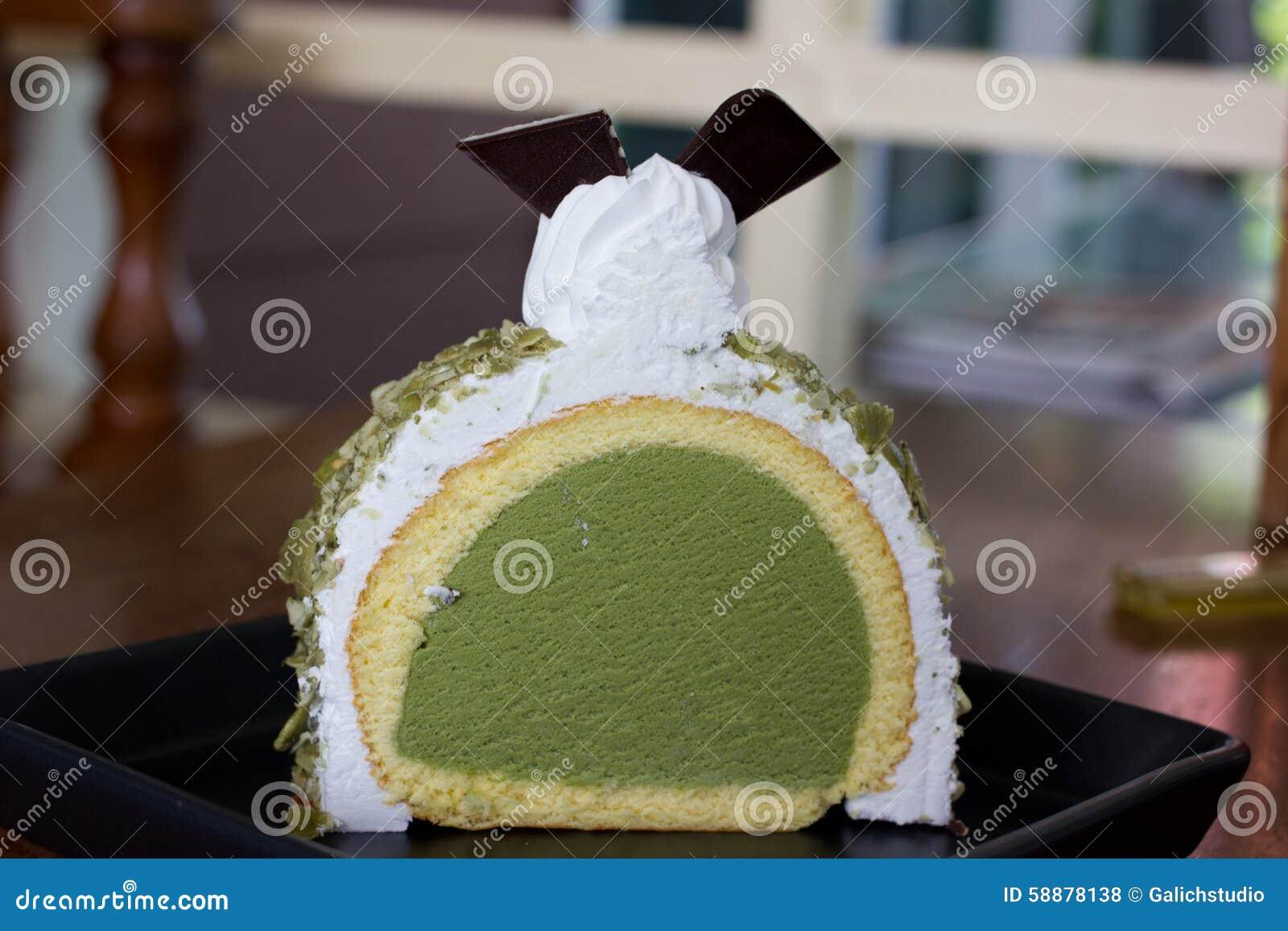 greentea icecream cake on wood table stock photo image of