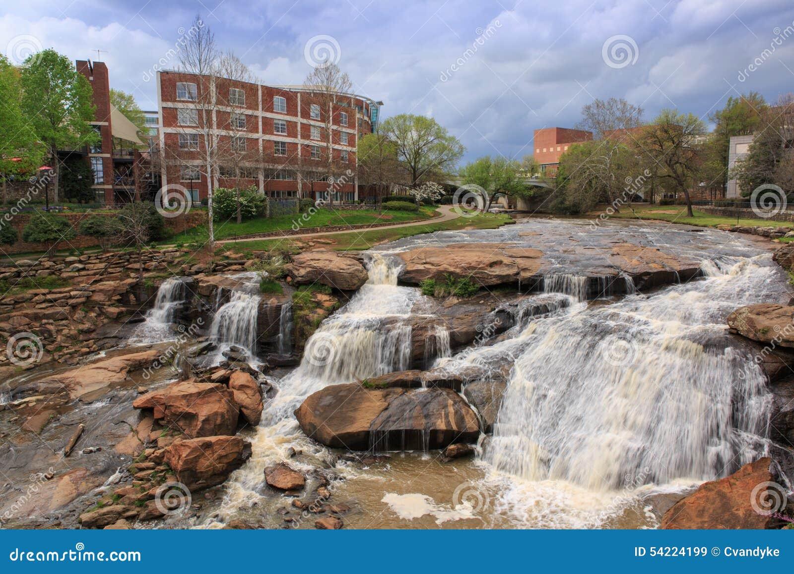 Greenville SC Reedy River Waterfalls Spring Stock Photo Image - Sc waterfalls map