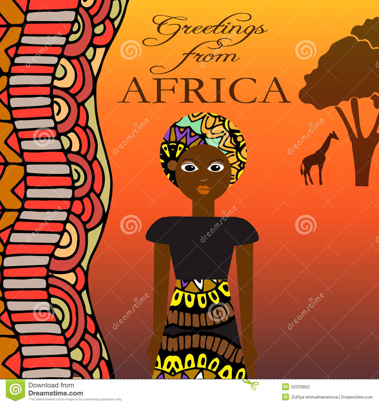 Greeting from africa illustration with pretty woman african download greeting from africa illustration with pretty woman african ornaments and elements stock m4hsunfo