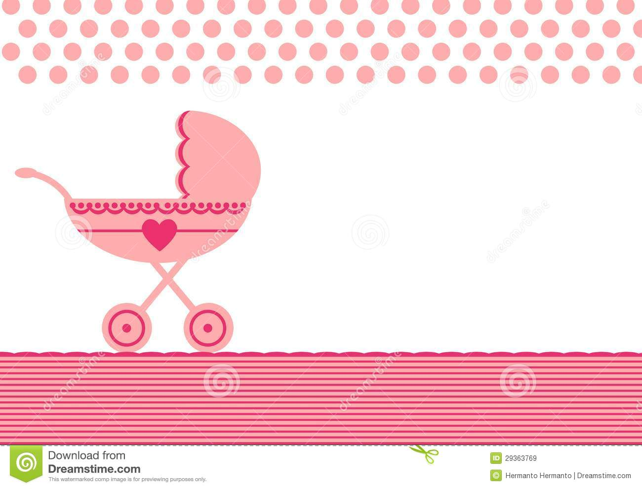 Greeting For Baby Born With Stroller Stock Vector Illustration Of