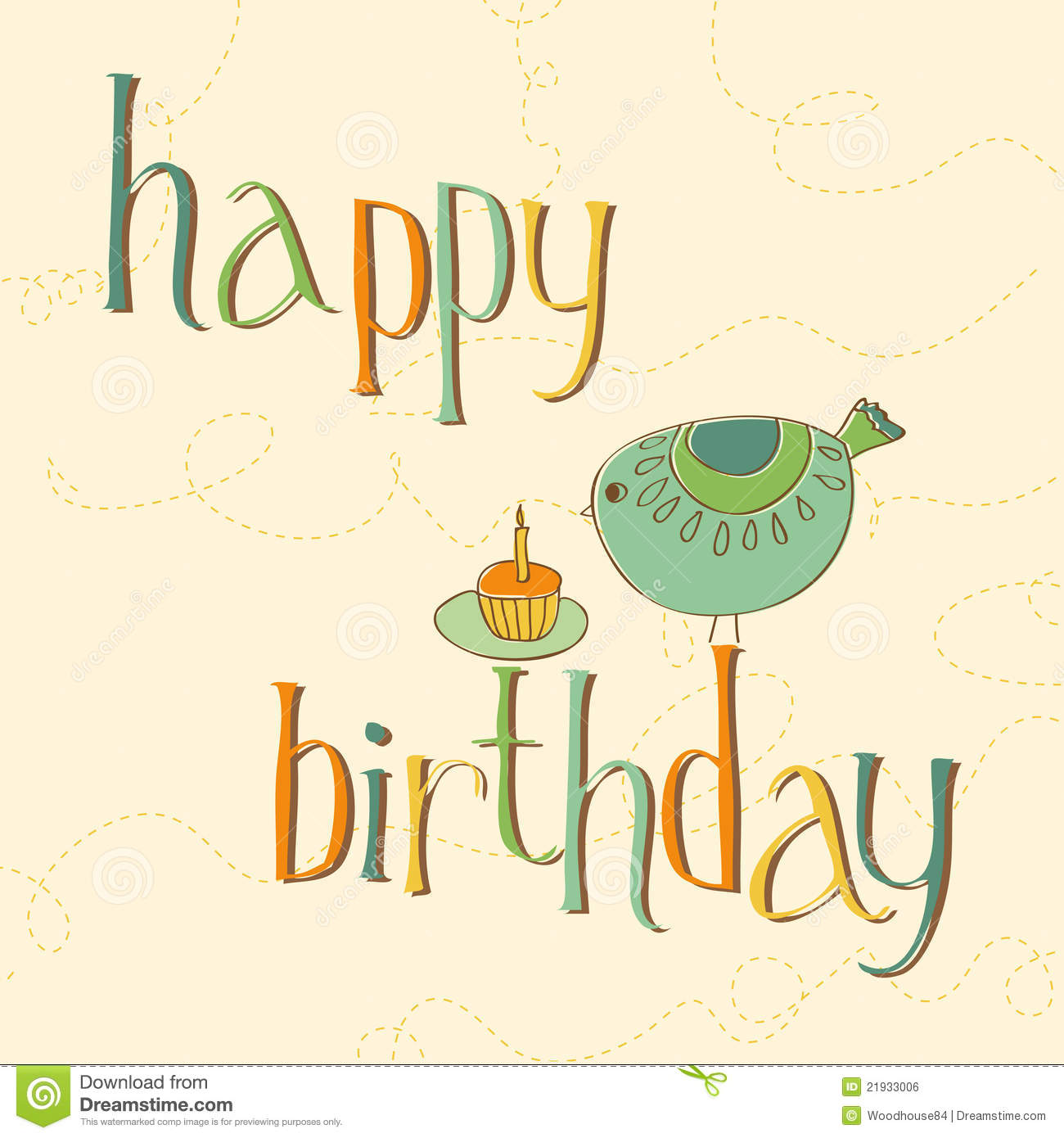 Greeting Birthday Card With Cute Bird Royalty Free Images – Birthday Card Greeting