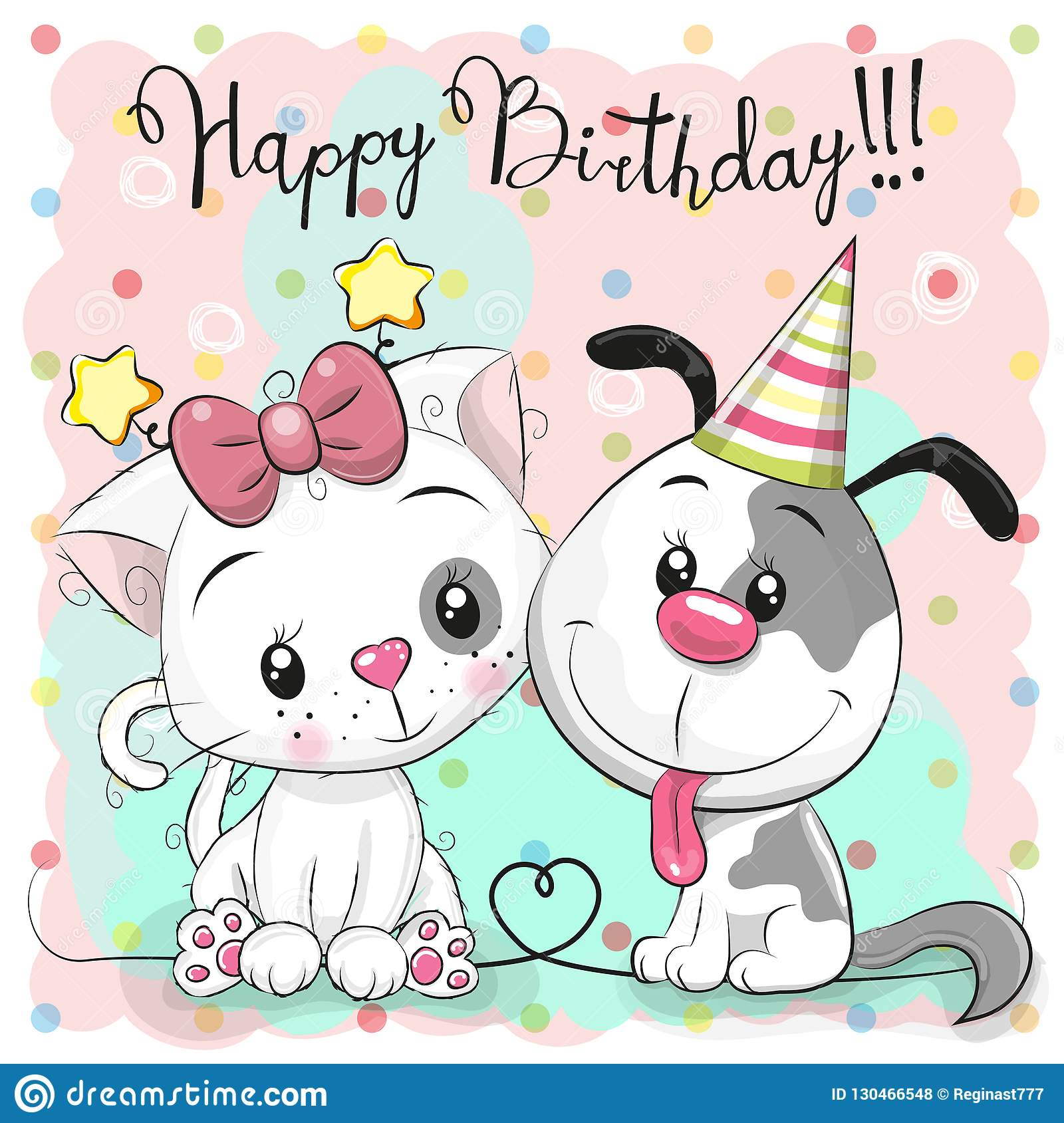 Greeting Birthday Card With Cute Cartoon Cat And Dog