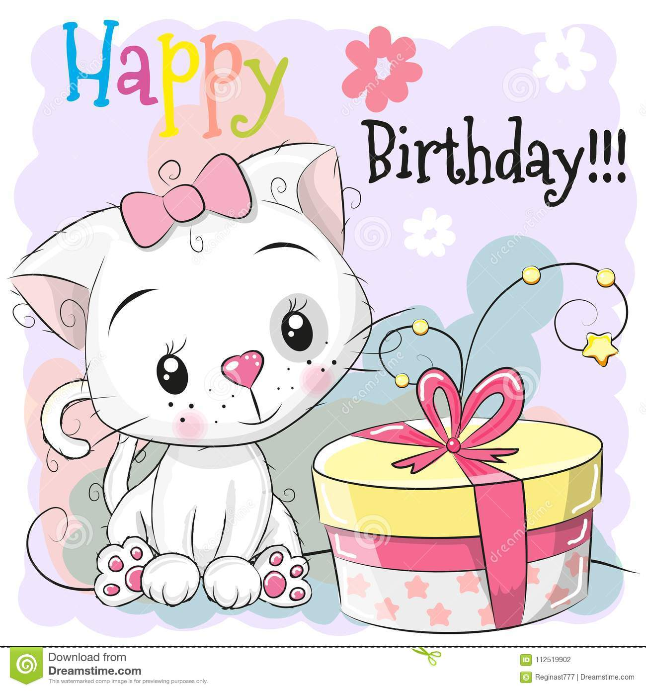 Greeting Birthday card cute Kitten with gift