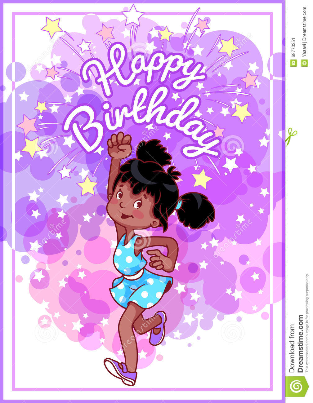 Greeting birthday card with a happy african american girl stock greeting birthday card with a happy african american girl kristyandbryce Image collections