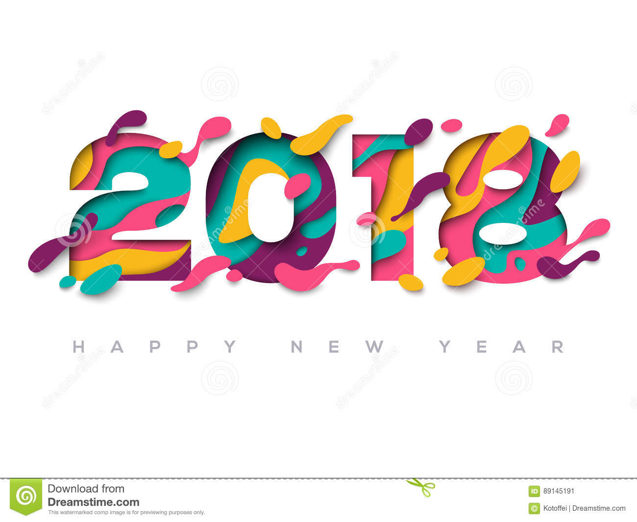 2018 happy new year greeting card with abstract paper cut shapes on white background vector illustration colorful 3d carving art